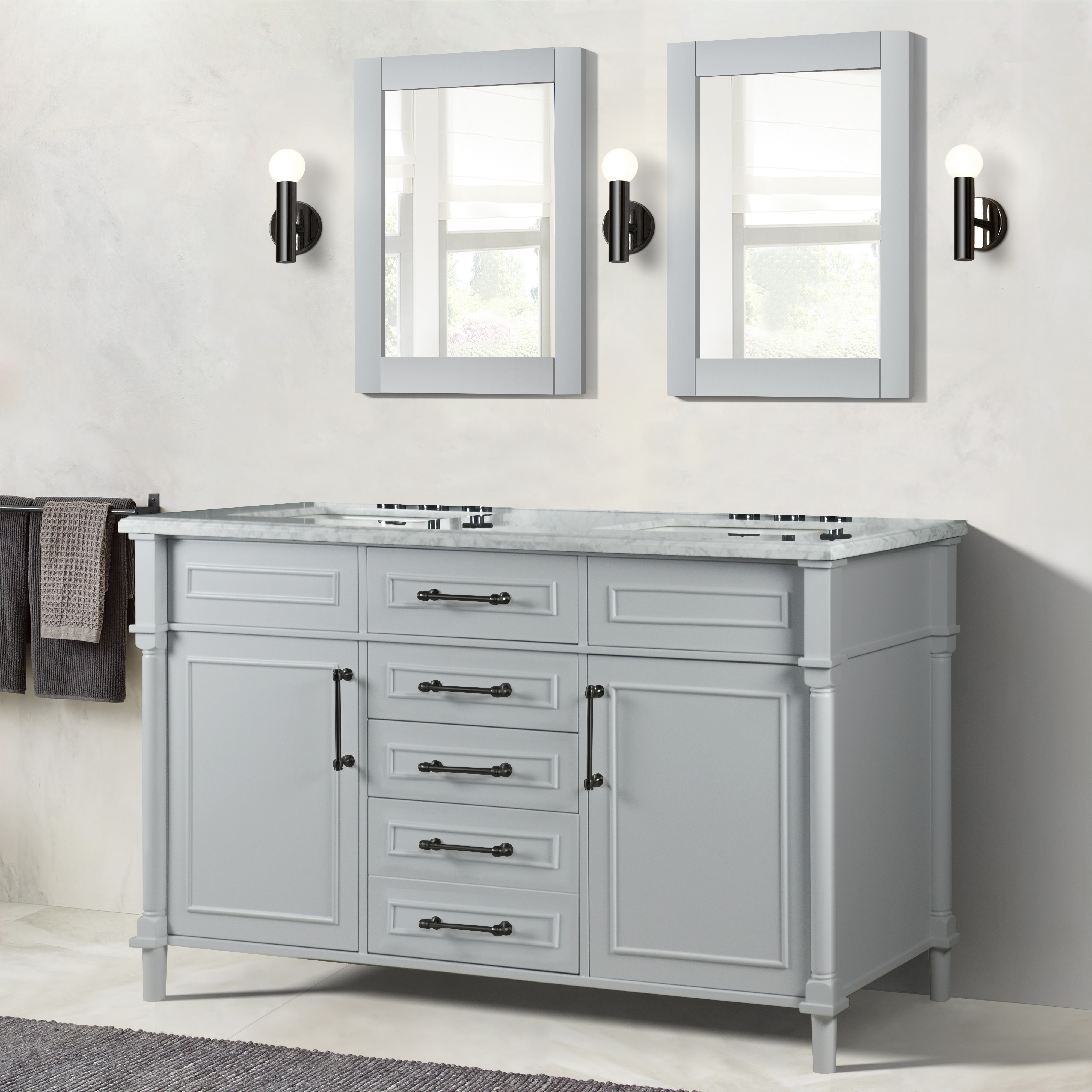 """60"""" Double Vanity in L/Gray with White Carrara Marble Top"""