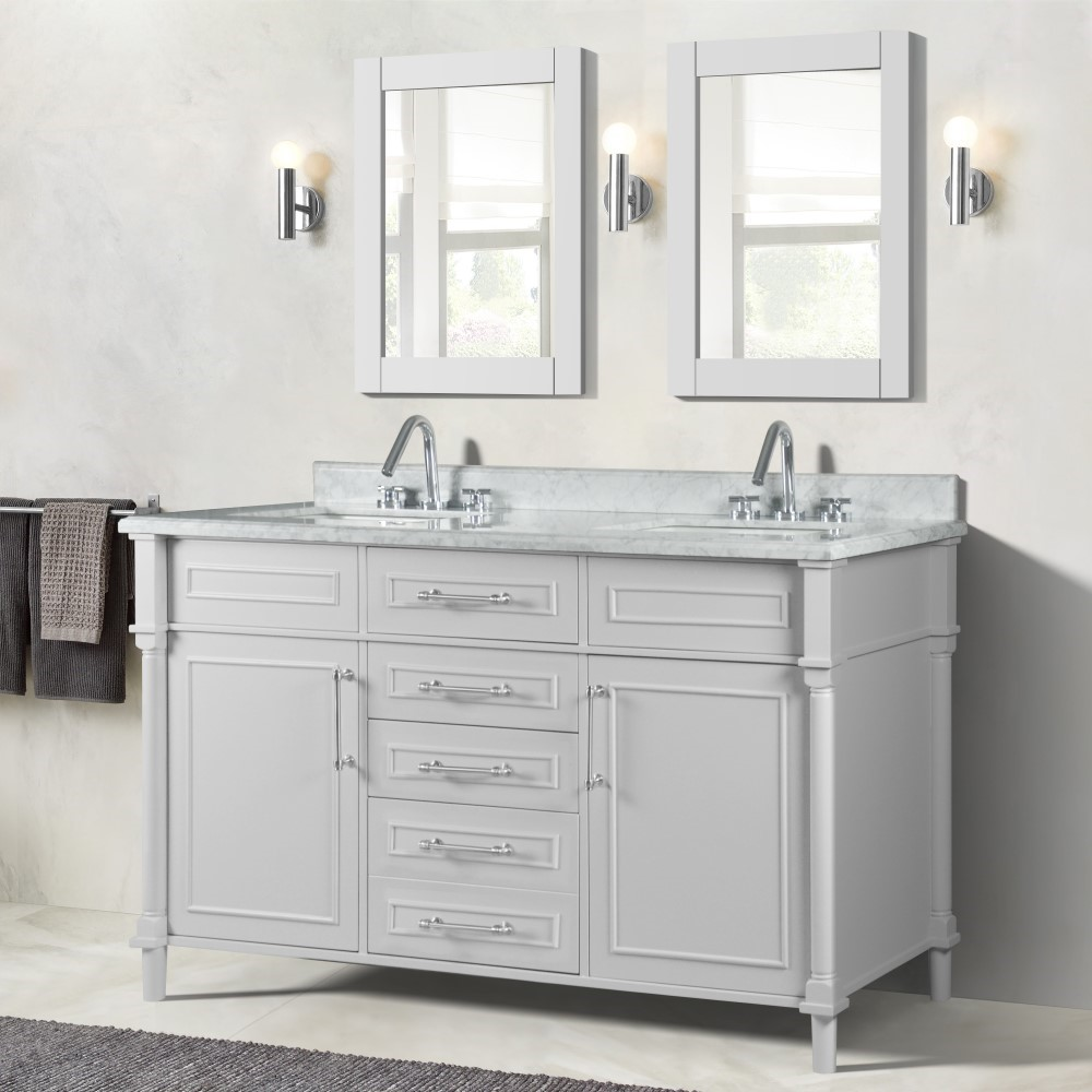"""60"""" Double Vanity in White  with White Carrara Marble Top"""