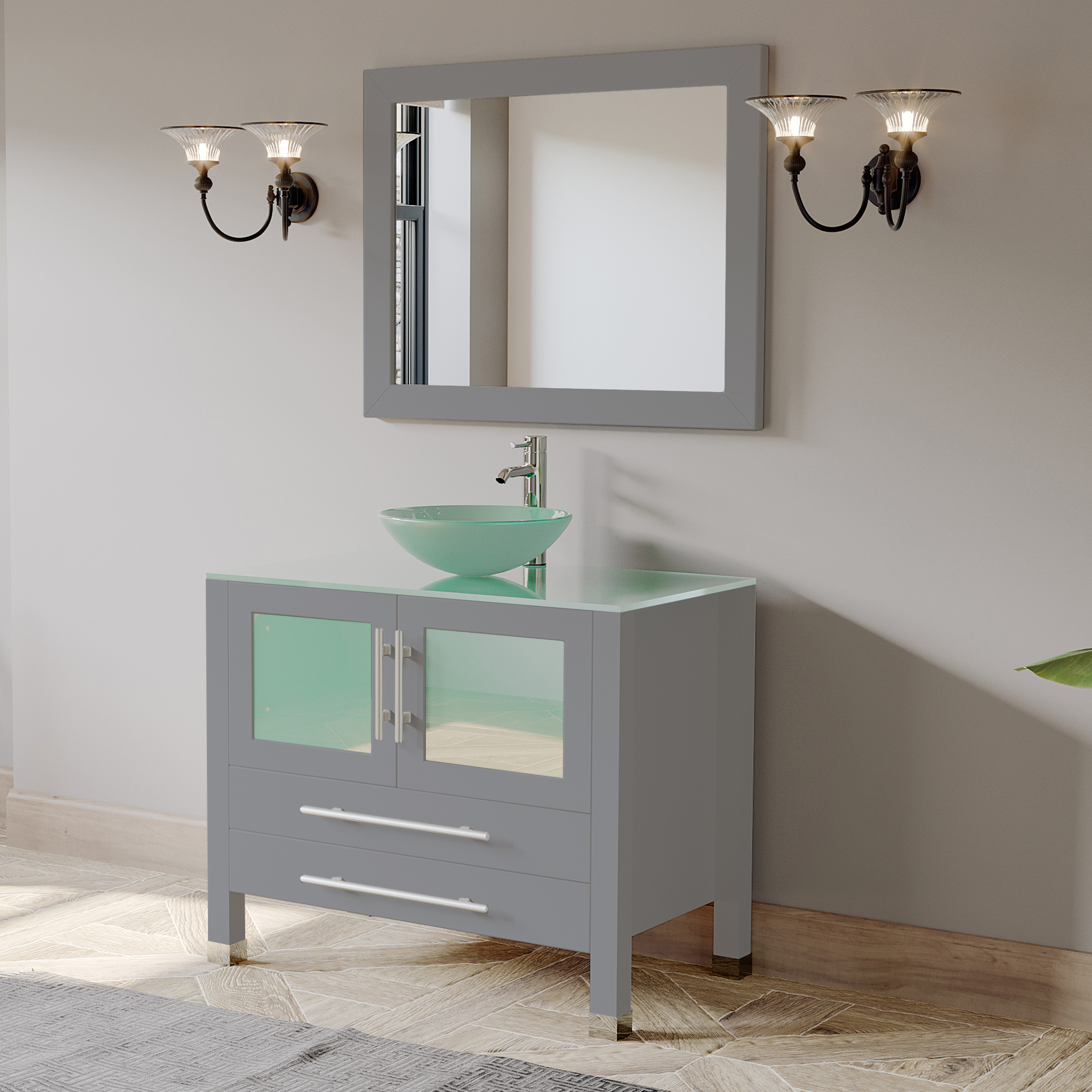 "36"" Single Sink Bathroom Vanity Set with Polished Chrome Plumbing"