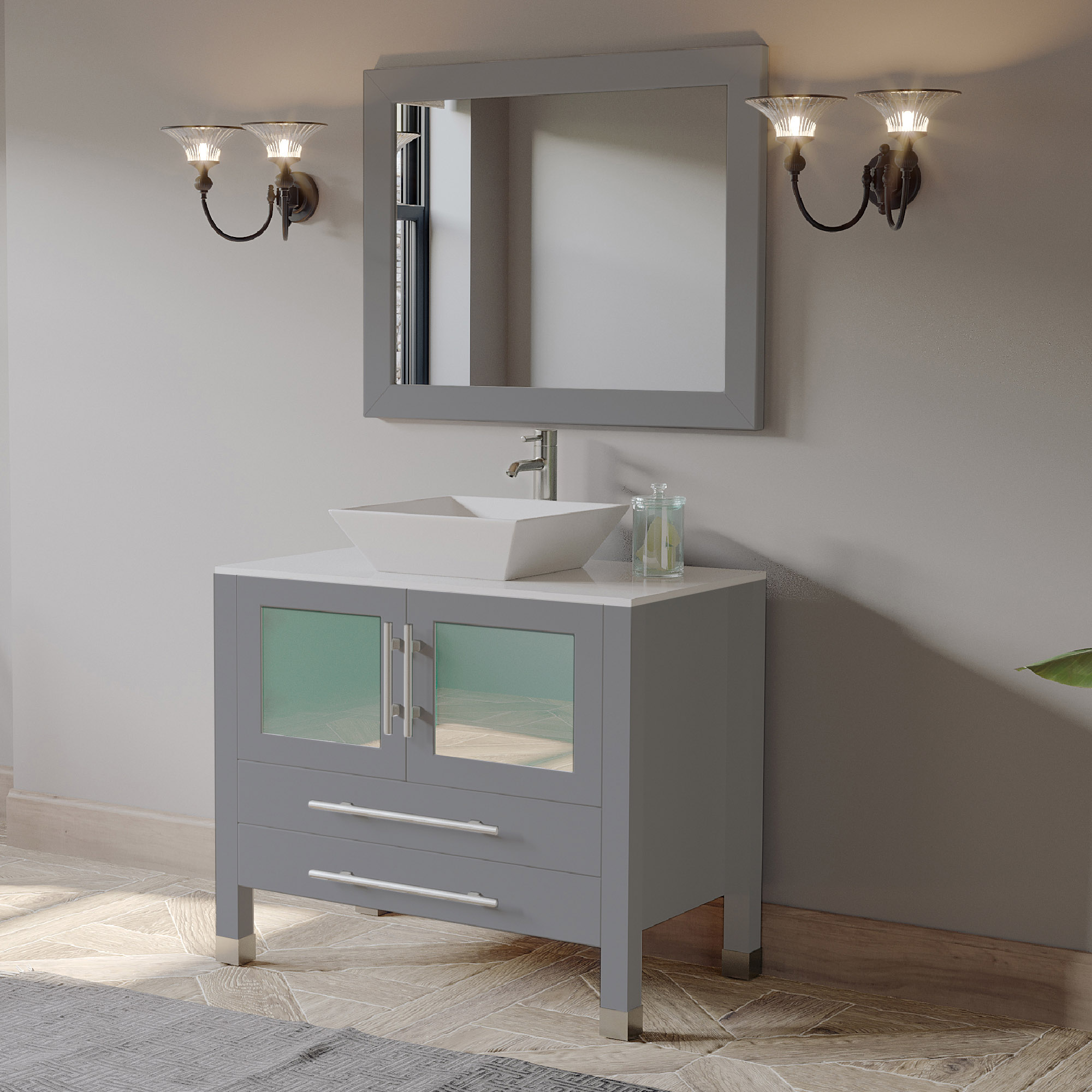 "36"" Single Sink Vanity Set in Gray Finish with Polished Chrome Plumbing"