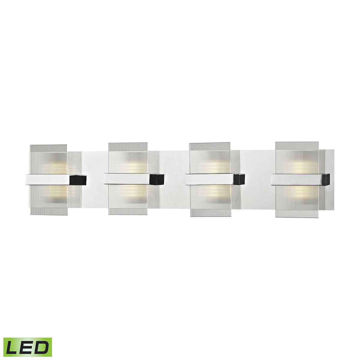 Desiree 4 LED Vanity in Polished Chrome with Clear Lined Glass