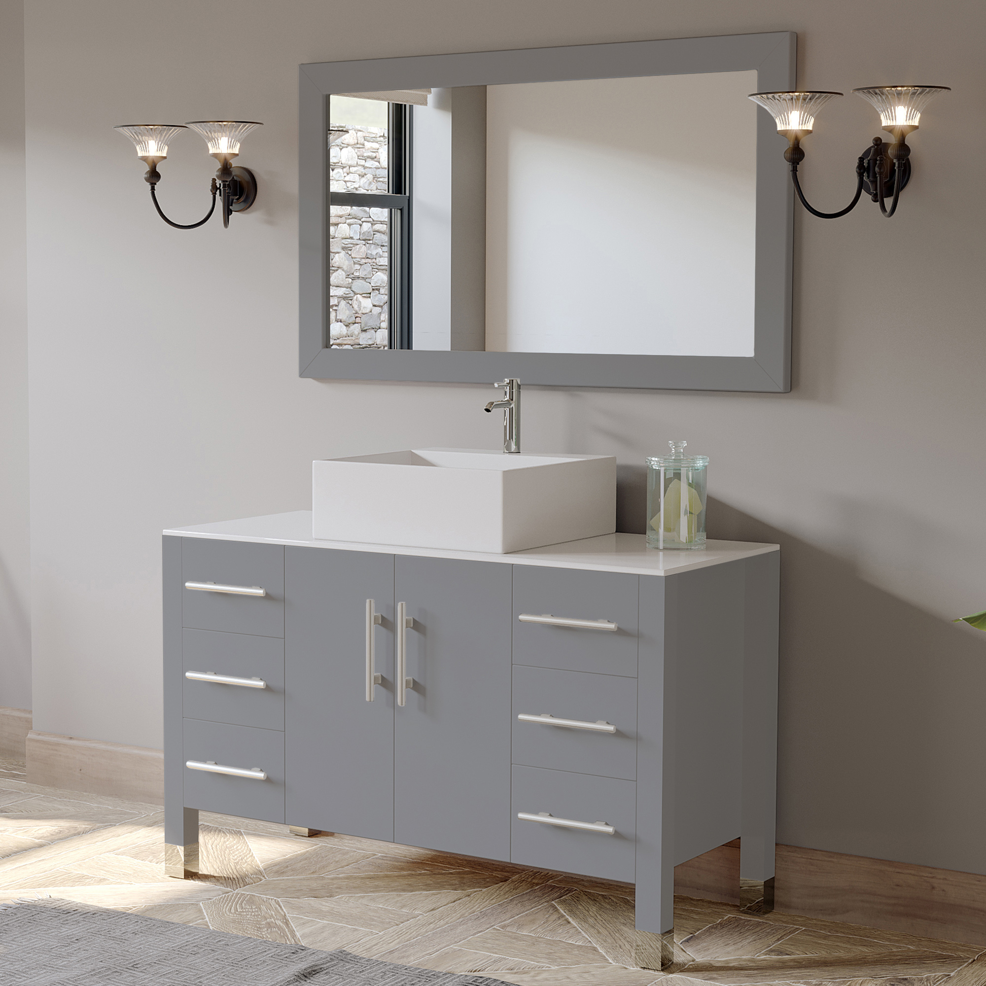 "48"" Single Sink Bathroom Vanity Set with Polished Chrome Plumbing"