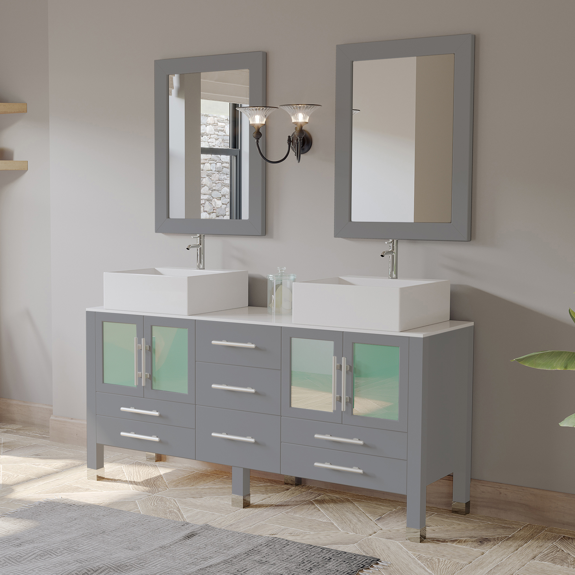 "63"" Double Sink Bathroom Vanity Set in Gray Cabinet Finish with Polished Chrome Plumbing"