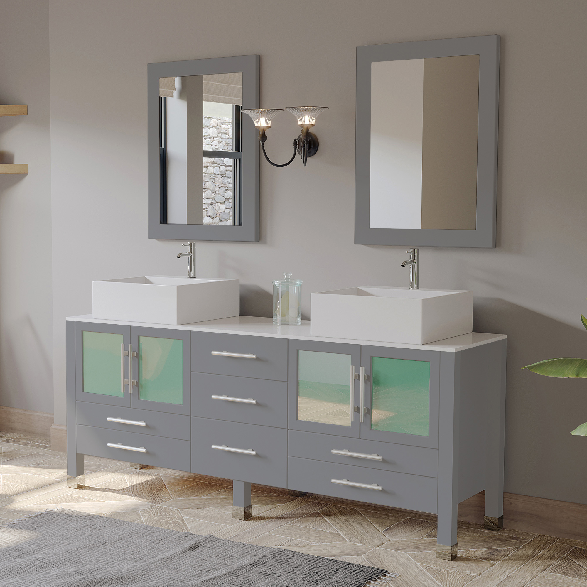 "71"" Double Sink Bathroom Vanity Set in Gray Cabinet Finish with Polished Chrome Plumbing"