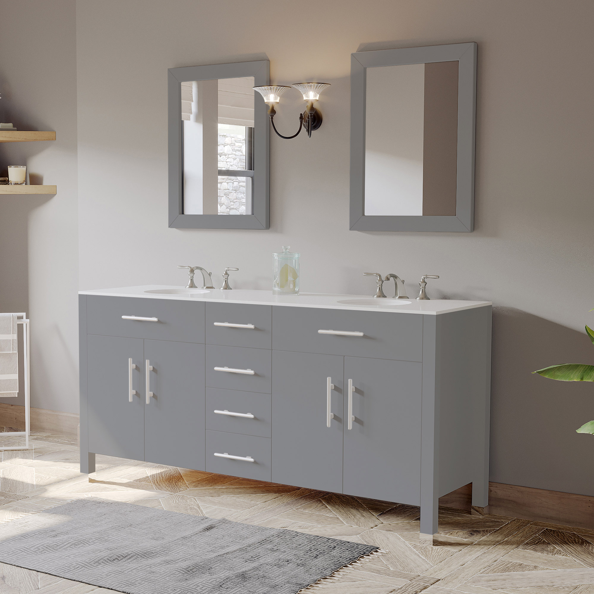 """72"""" Gray Double Bathroom Basin Sink Vanity with White Porcelain Countertop"""