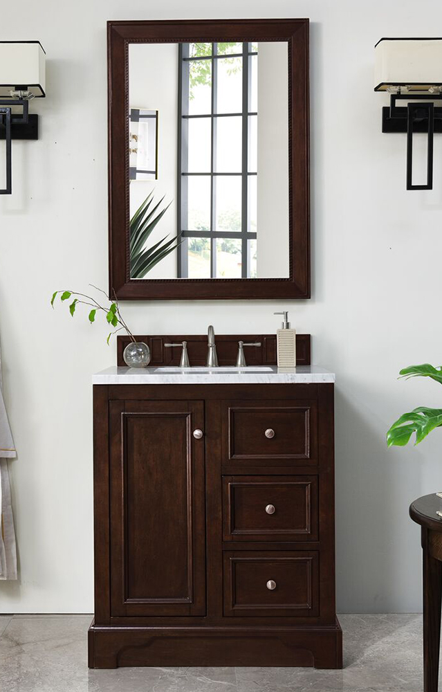 "James Martin De Soto Collection 30"" Single Vanity, Burnished Mahogany"