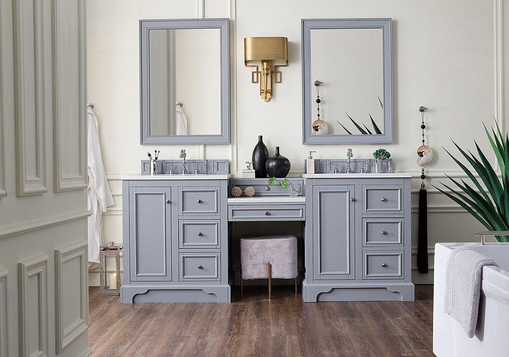 "James Martin Brittany Collection 82"" Double Vanity Set, Silver Gray with Makeup Table, 3 CM Optional Top"