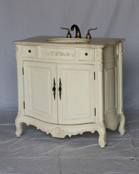 "36"" Adelina Antique Style White Single Sink Bathroom Vanity with Beige Stone Countertop"