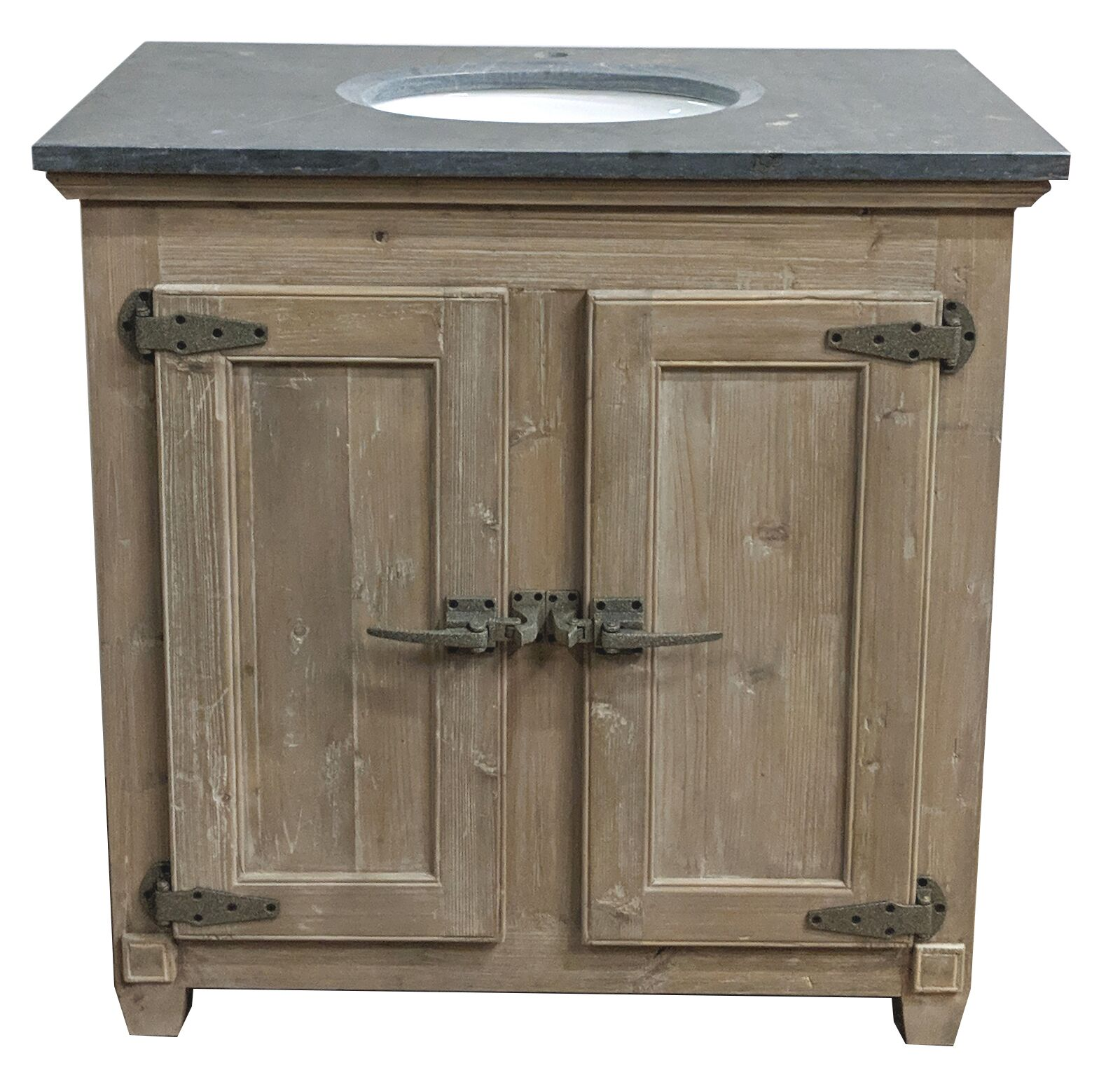 "36"" Handcrafted Reclaimed Pine Solid Wood Single Vanity Natural Finish"