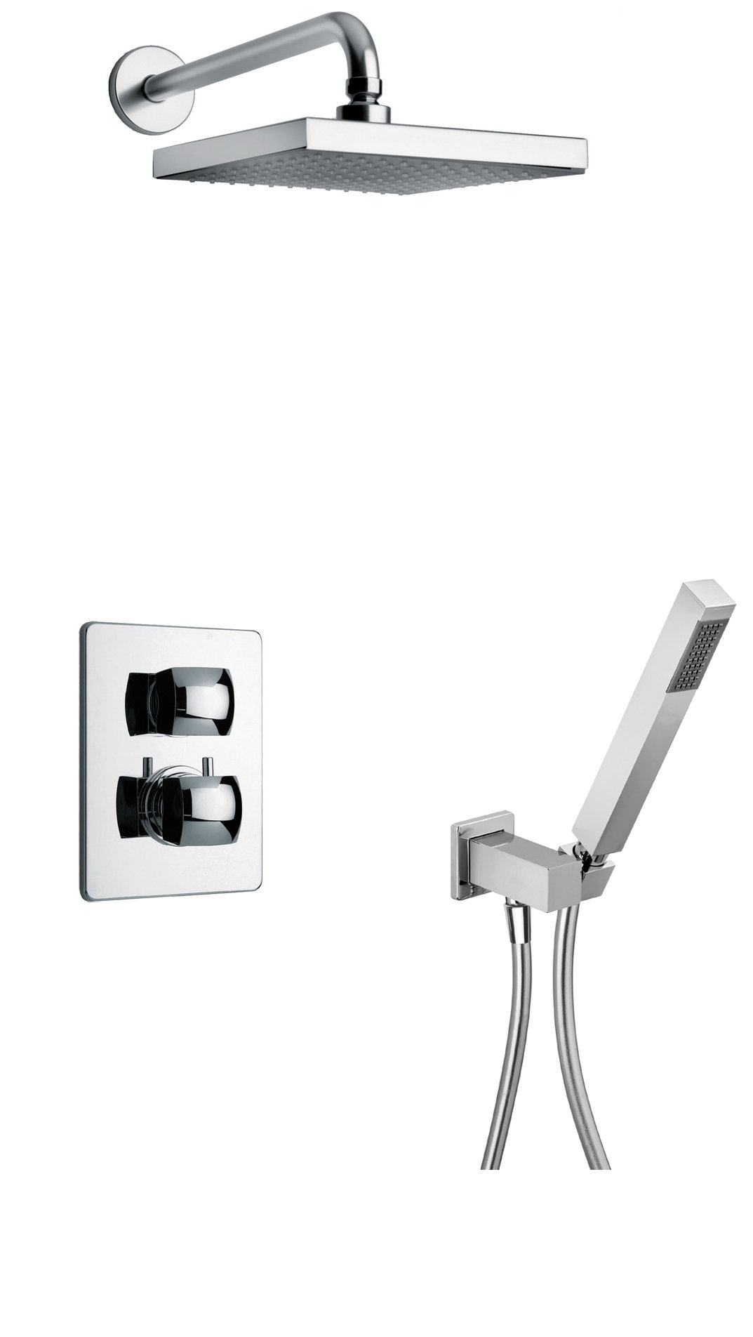 Thermostatic Shower With 2-Way Diverter Volume Control and Hand-Shower in Chrome