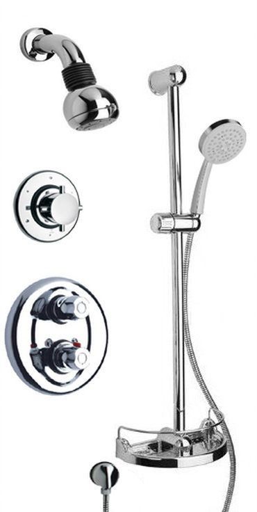 "Thermostatic Shower With 3/4"" Ceramic Disc Volume Control, 3-Way Diverter and Slide Bar in 2 Color Options"