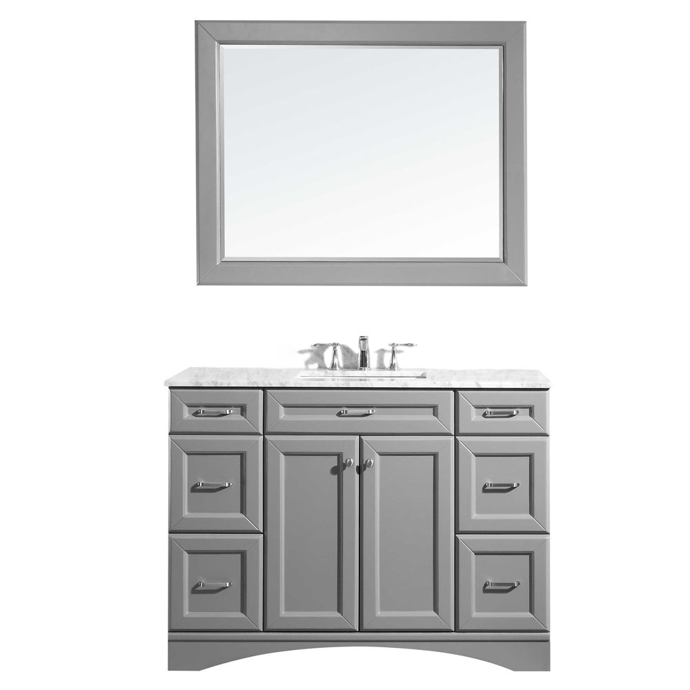 """48"""" Vanity in Grey with Carrara White Marble Countertop With Mirror"""