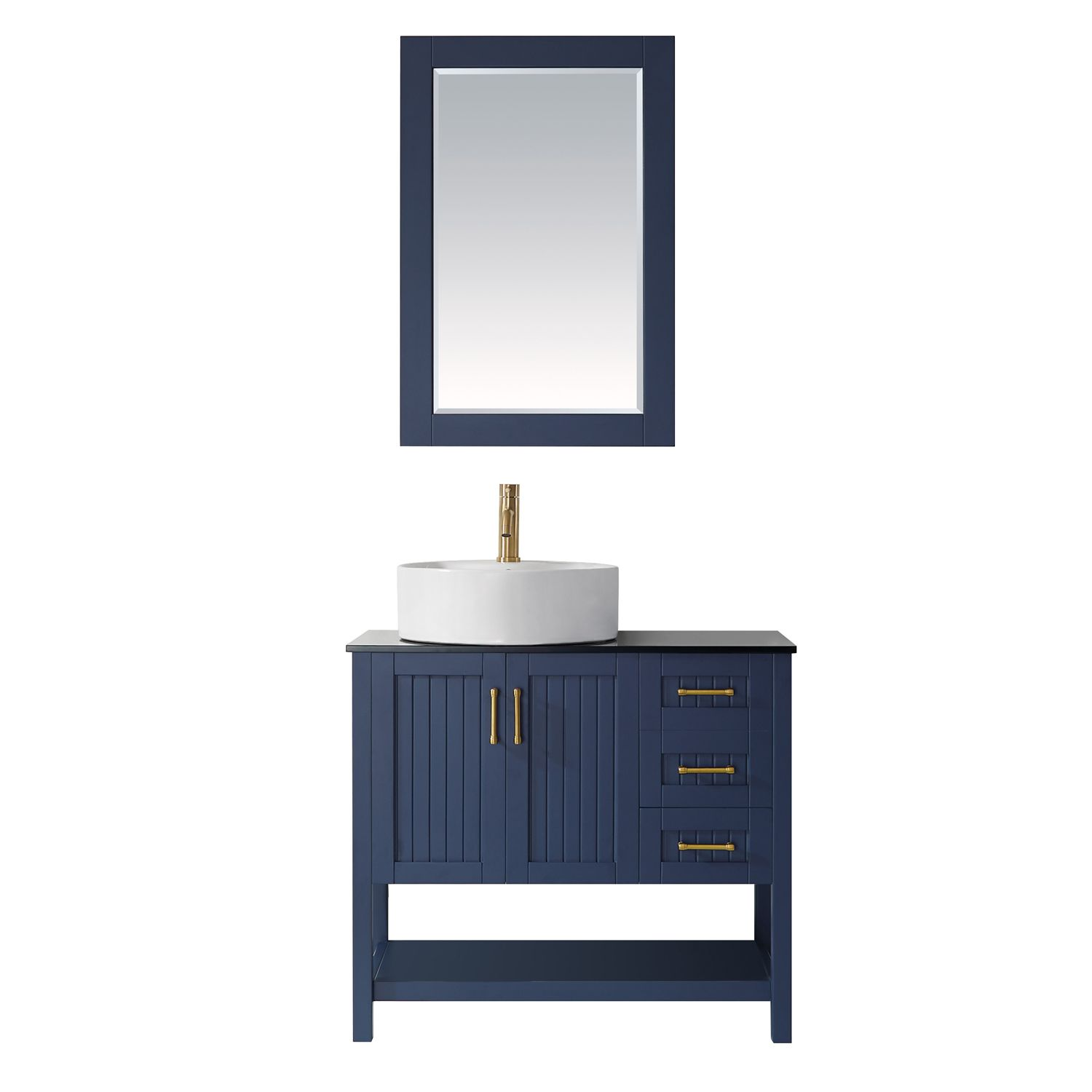 "36"" Vanity in Royal Blue with Glass Countertop with White Vessel Sink With Mirror"