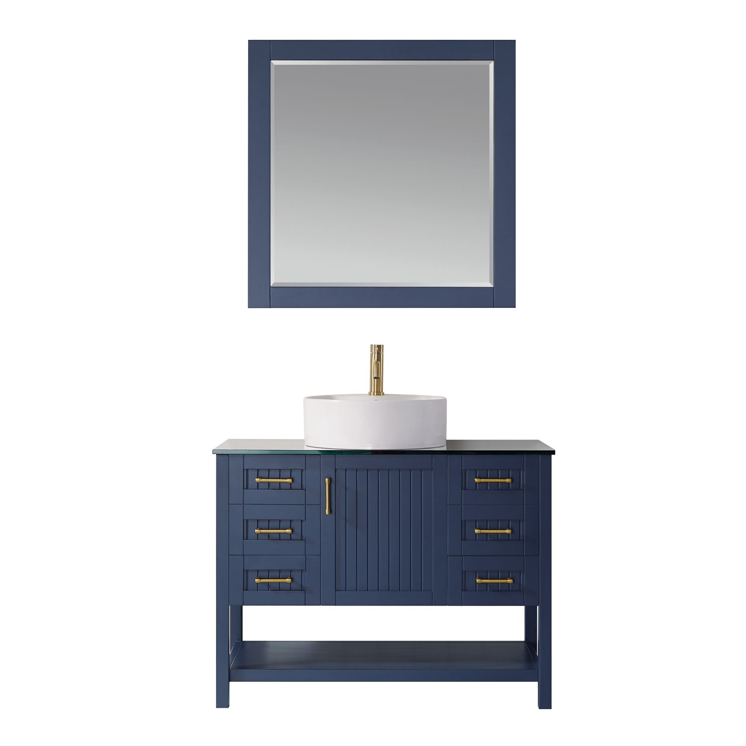 "42"" Vanity in Royal Blue with Glass Countertop with White Vessel Sink With Mirror"