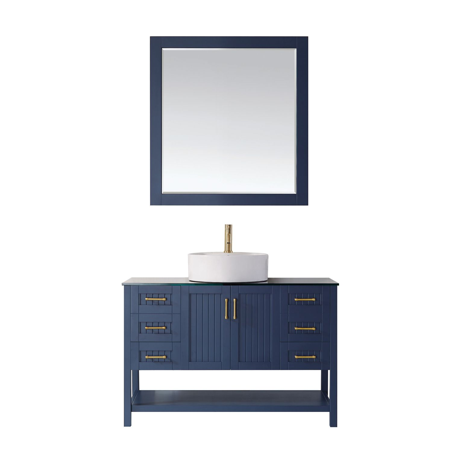 "48"" Vanity in Royal Blue with Glass Countertop with White Vessel Sink With Mirror"