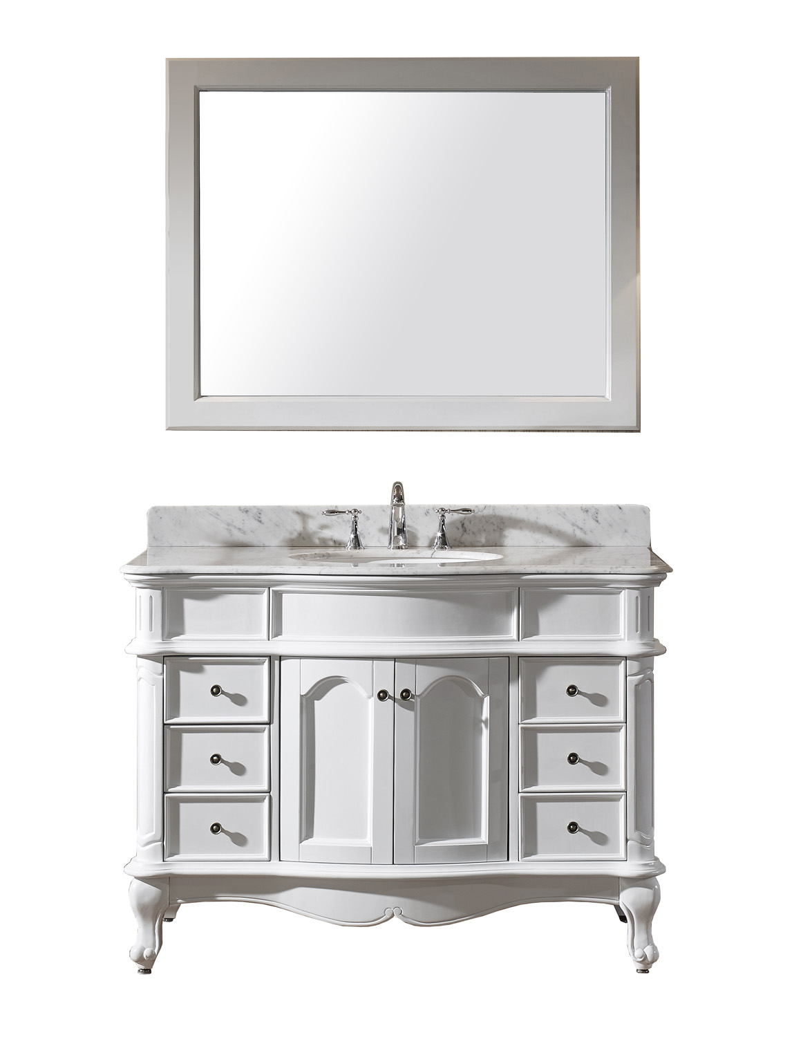 "48"" Single Bath Vanity in White with Marble Top and Round Sink with Faucet and Mirror Options"