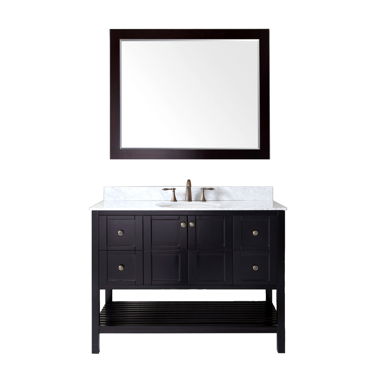 "48"" Single Bath Vanity in Espresso with Top, Sink and Mirror Options"