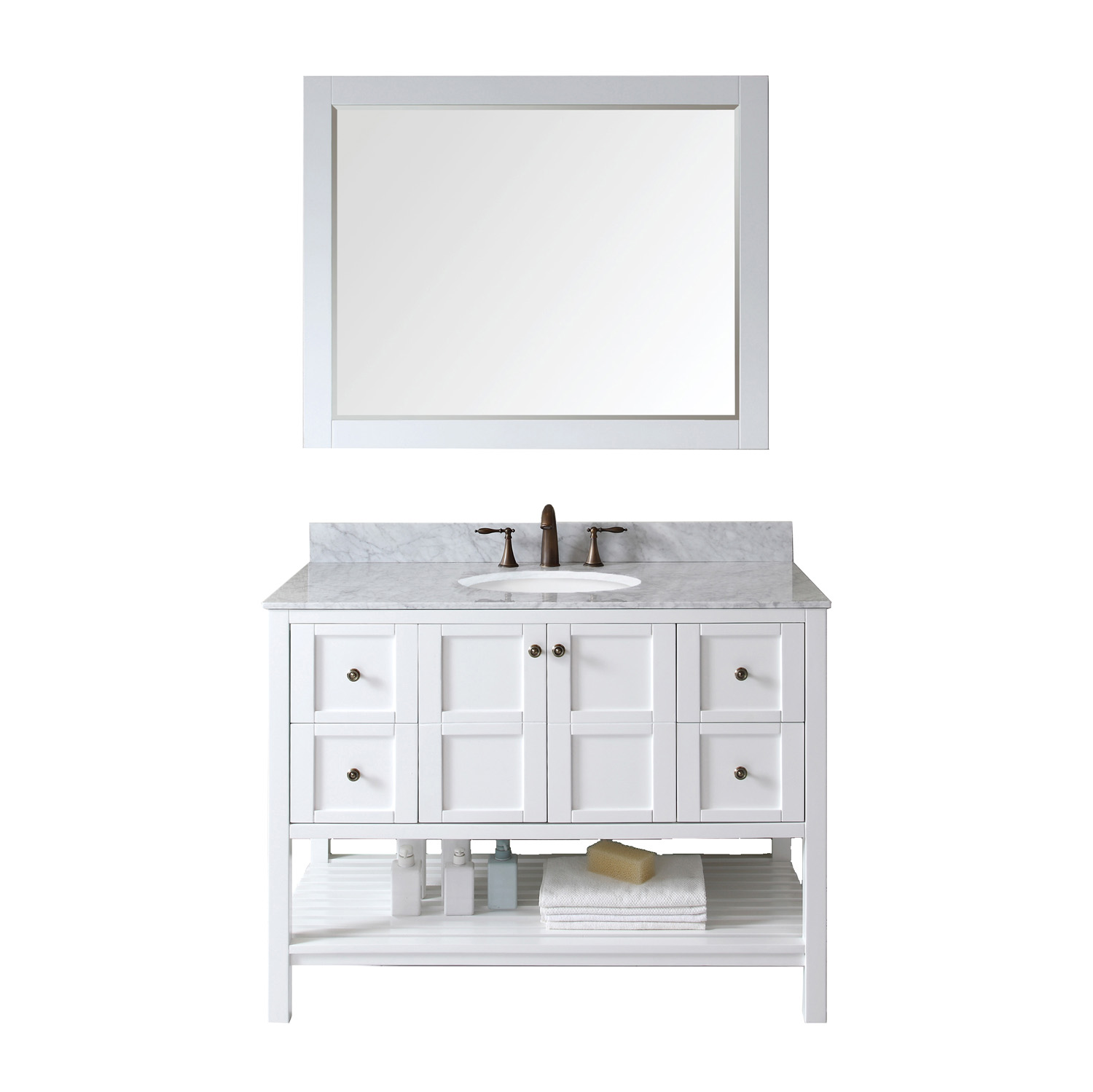 "48"" Single Bath Vanity in White with Top, Sink and Mirror Options"