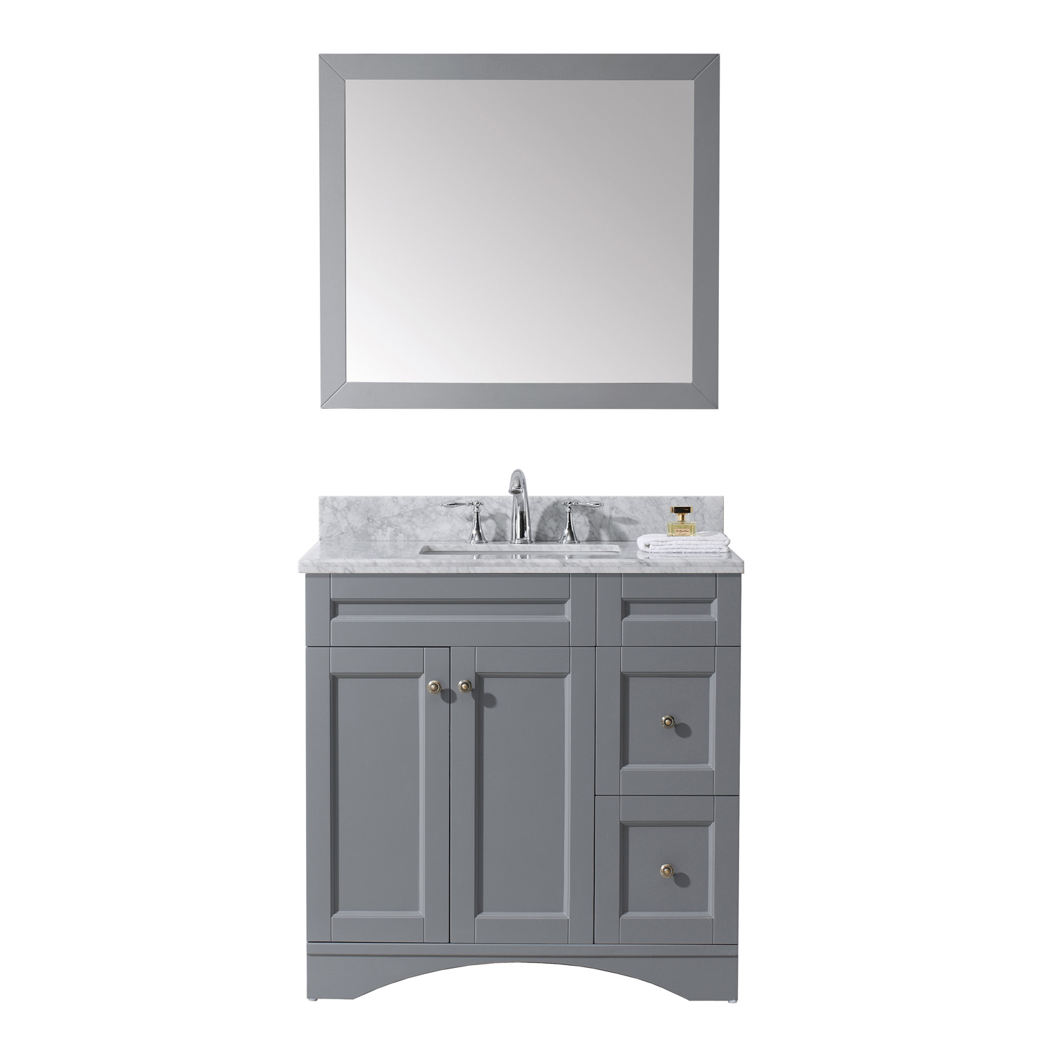 "36"" Single Bath Vanity in Grey Finish with Top, Sink and Mirror Options"