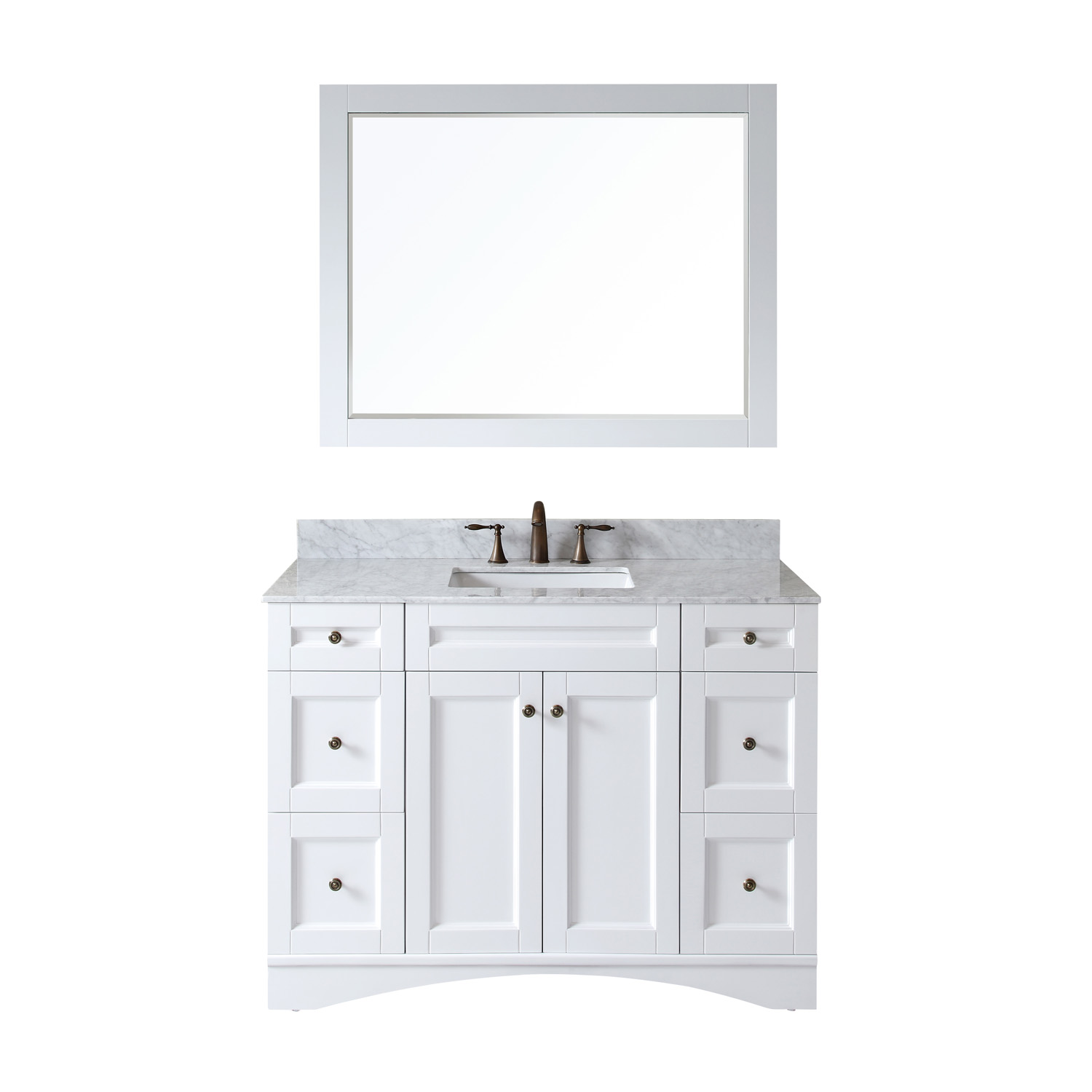 "48"" Single Bath Vanity in White Finish with Top, Sink and Mirror Options"