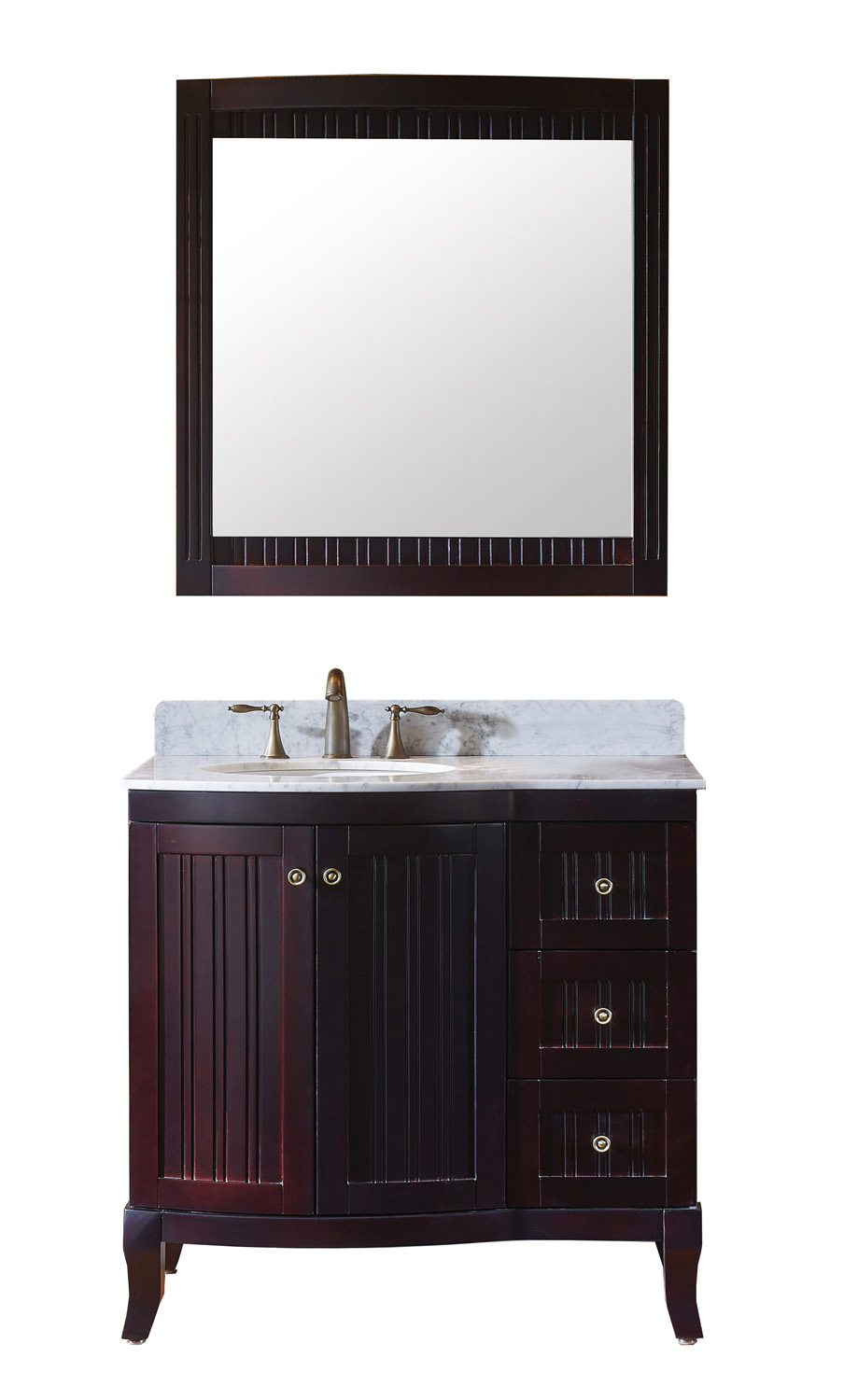 "36"" Single Bath Vanity in Espresso with Marble Top and Round Sink with Polished Chrome Faucet and Mirror"