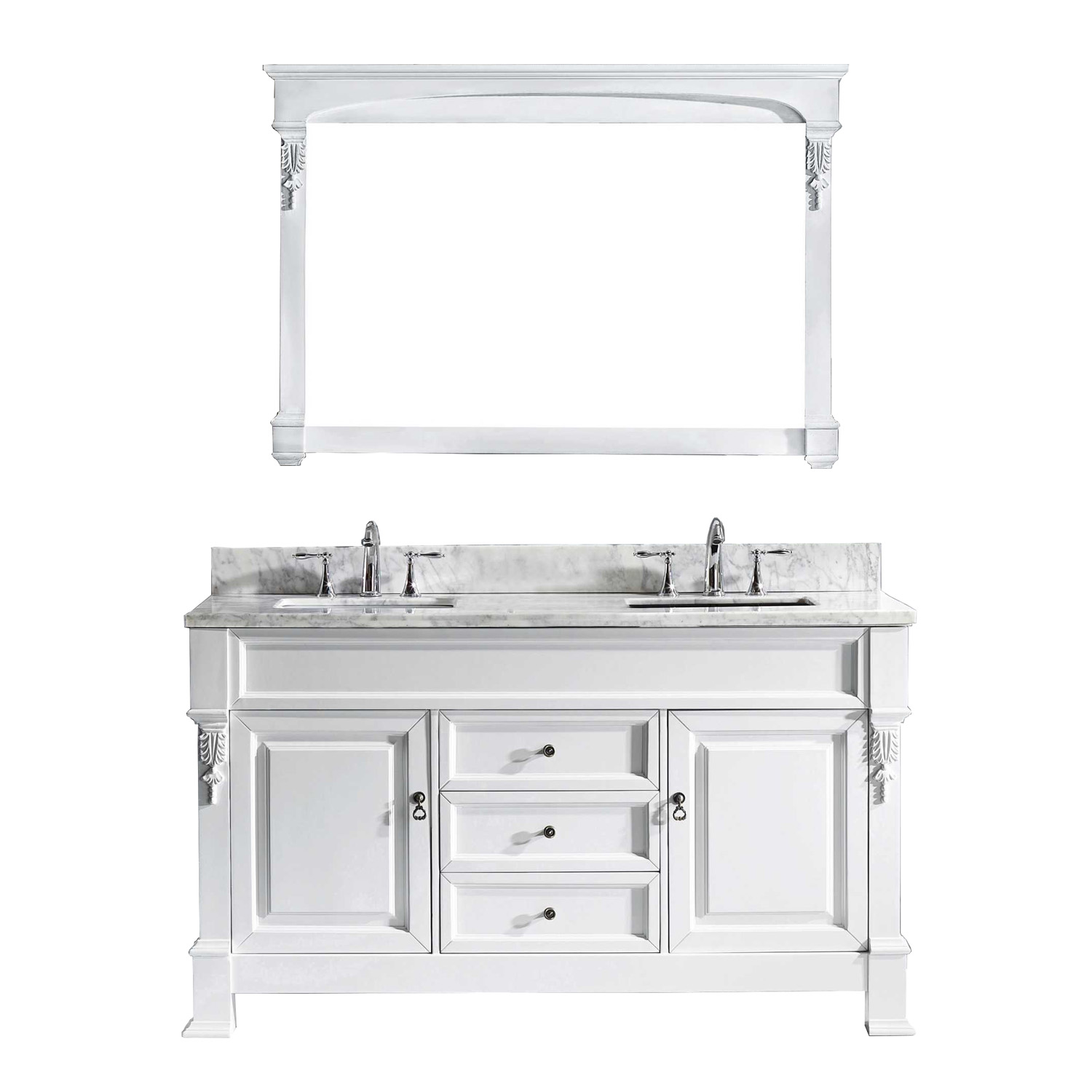 "60"" Cabinet Only in White with Top, Faucet and Mirror Options"