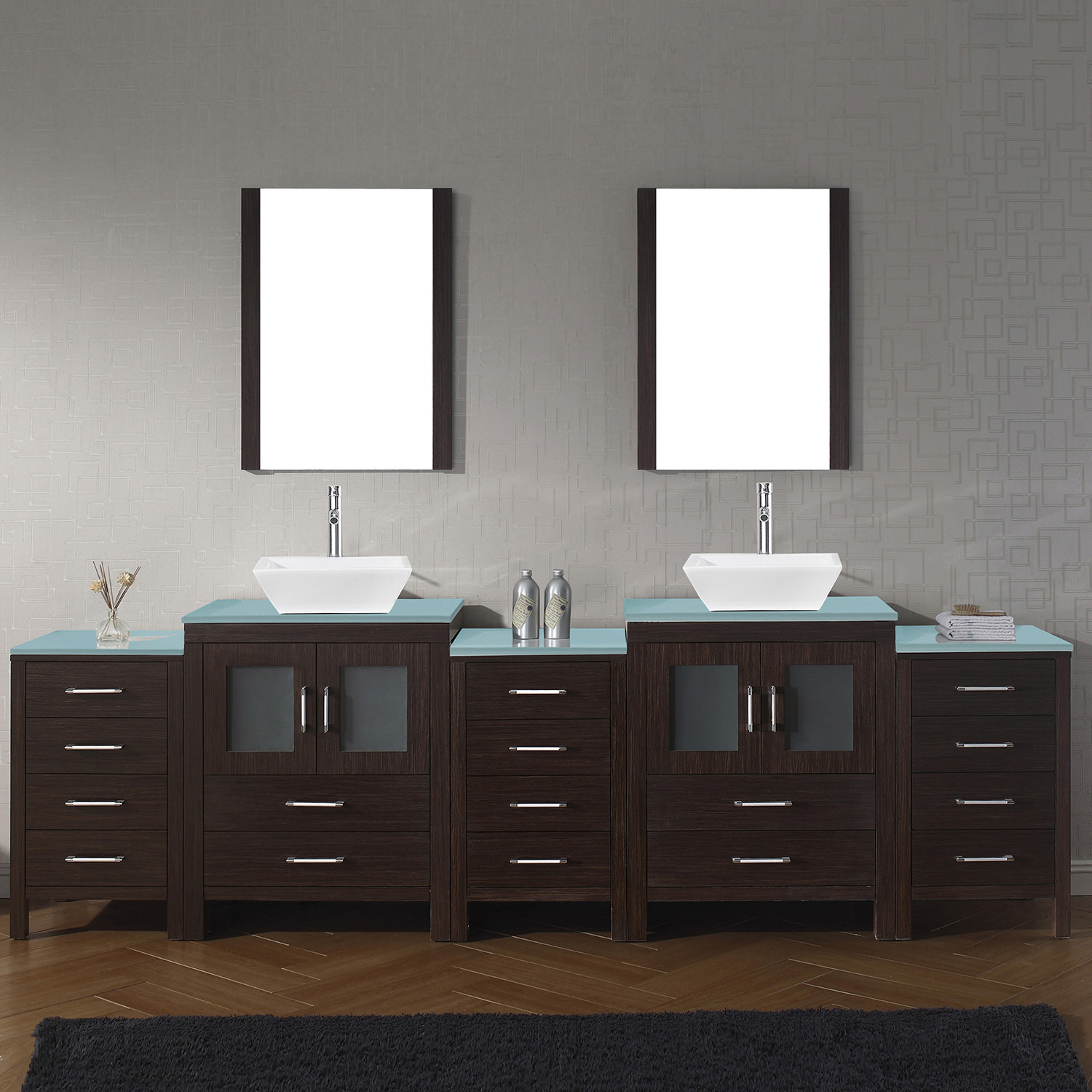 "110"" Double Bath Vanity in Espresso with Aqua Tempered Glass Top and Square Sink with Polished Chrome Faucet and Mirrors"