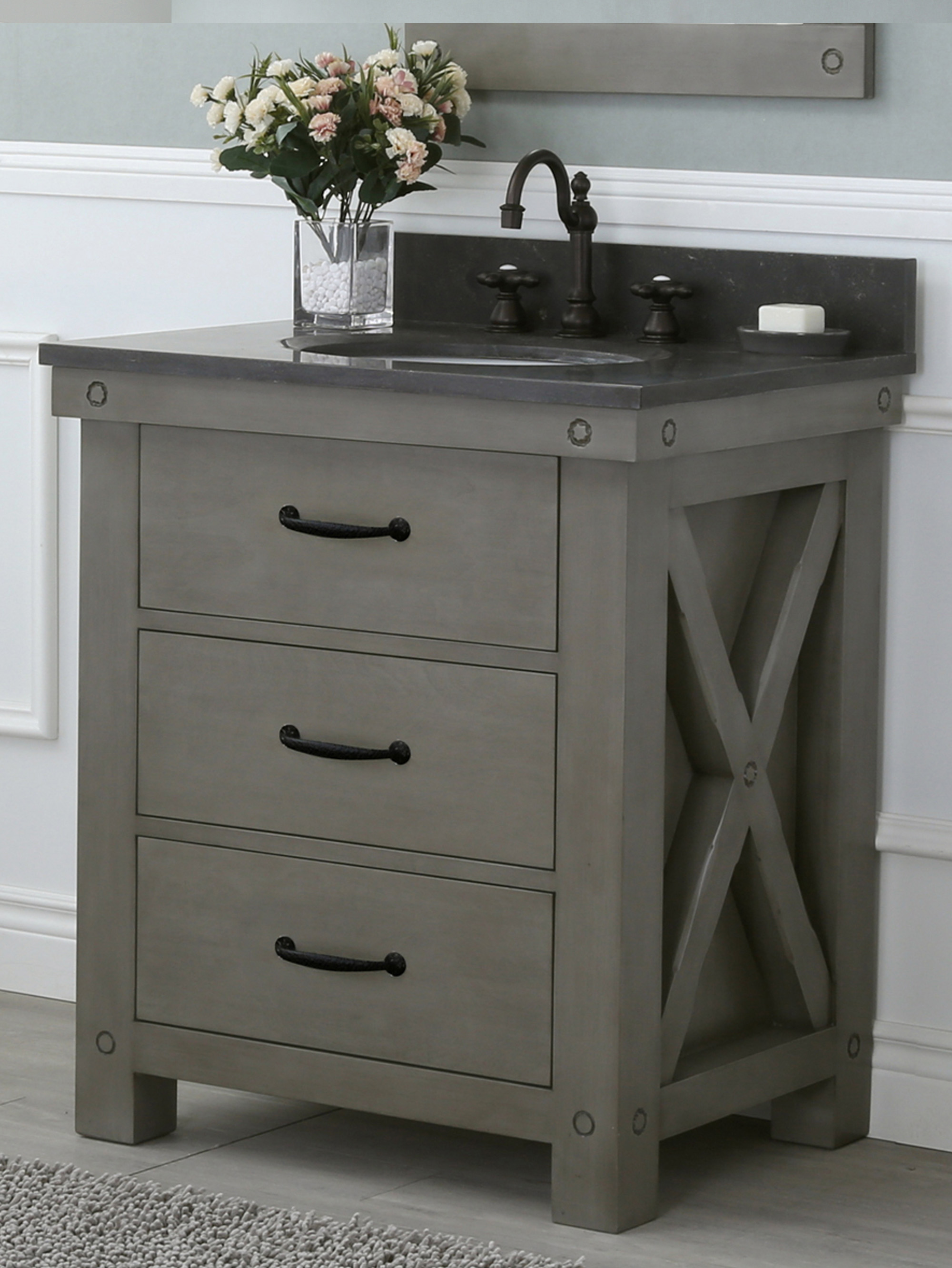 """30"""" Grizzle Grey Single Sink Bathroom Vanity With Counter Top Options"""