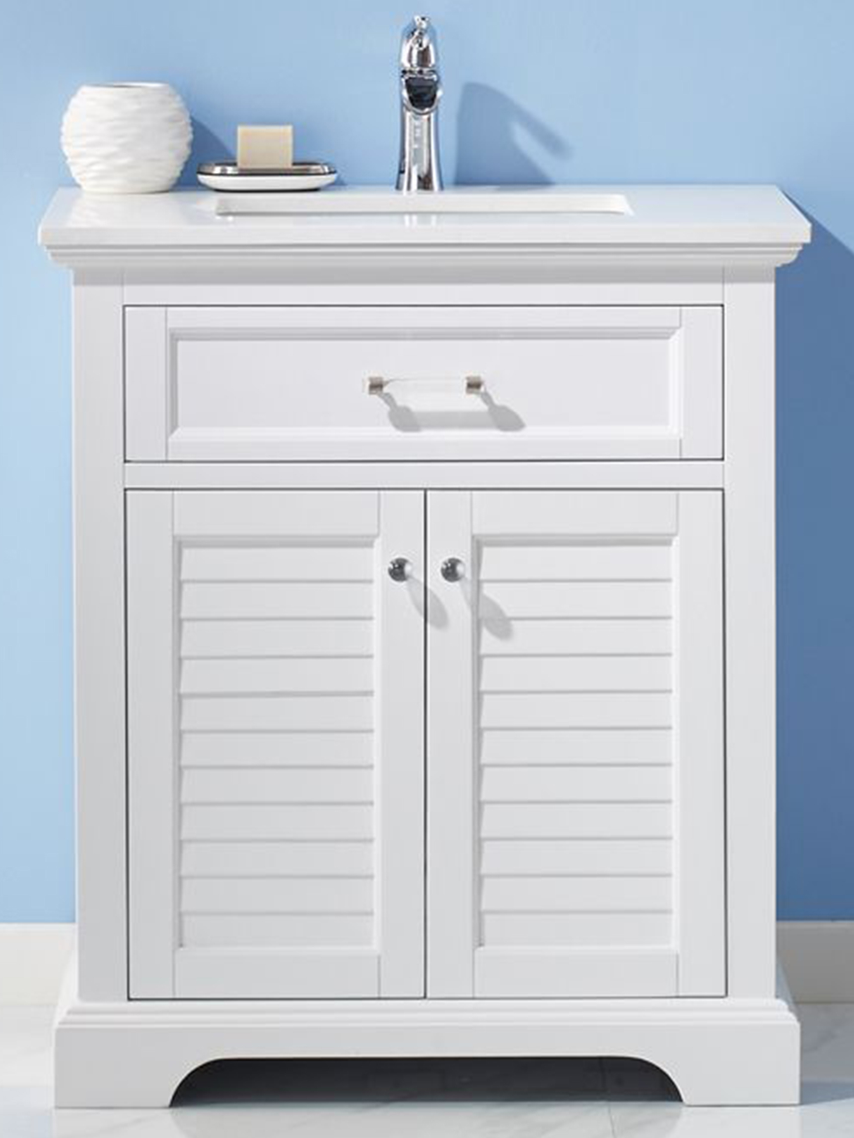 "30"" Single Vanity in White and Composite Carrara White Stone Countertop Without Mirror"