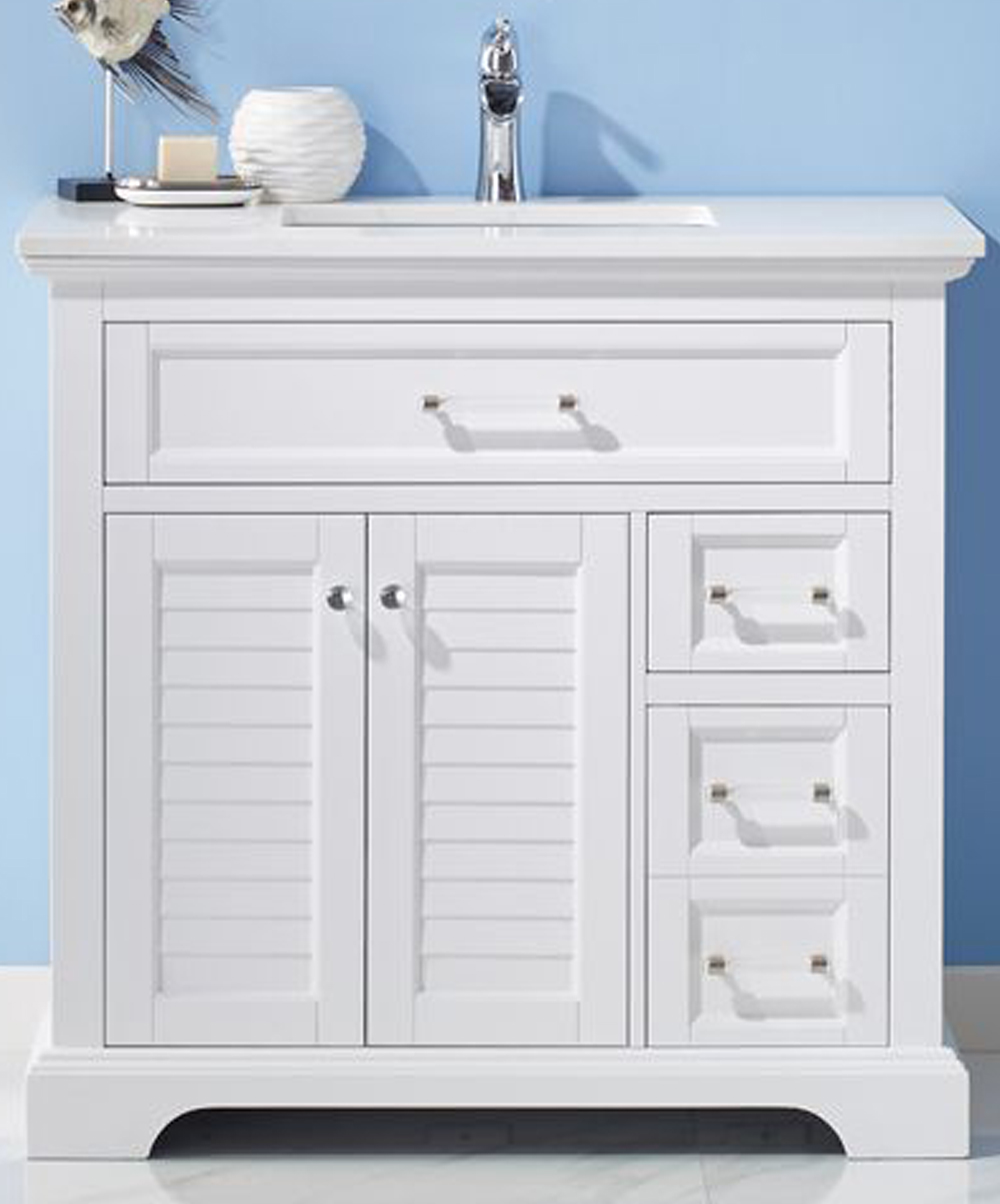 "36"" Single Vanity in White and Composite Carrara White Stone Countertop Without Mirror"