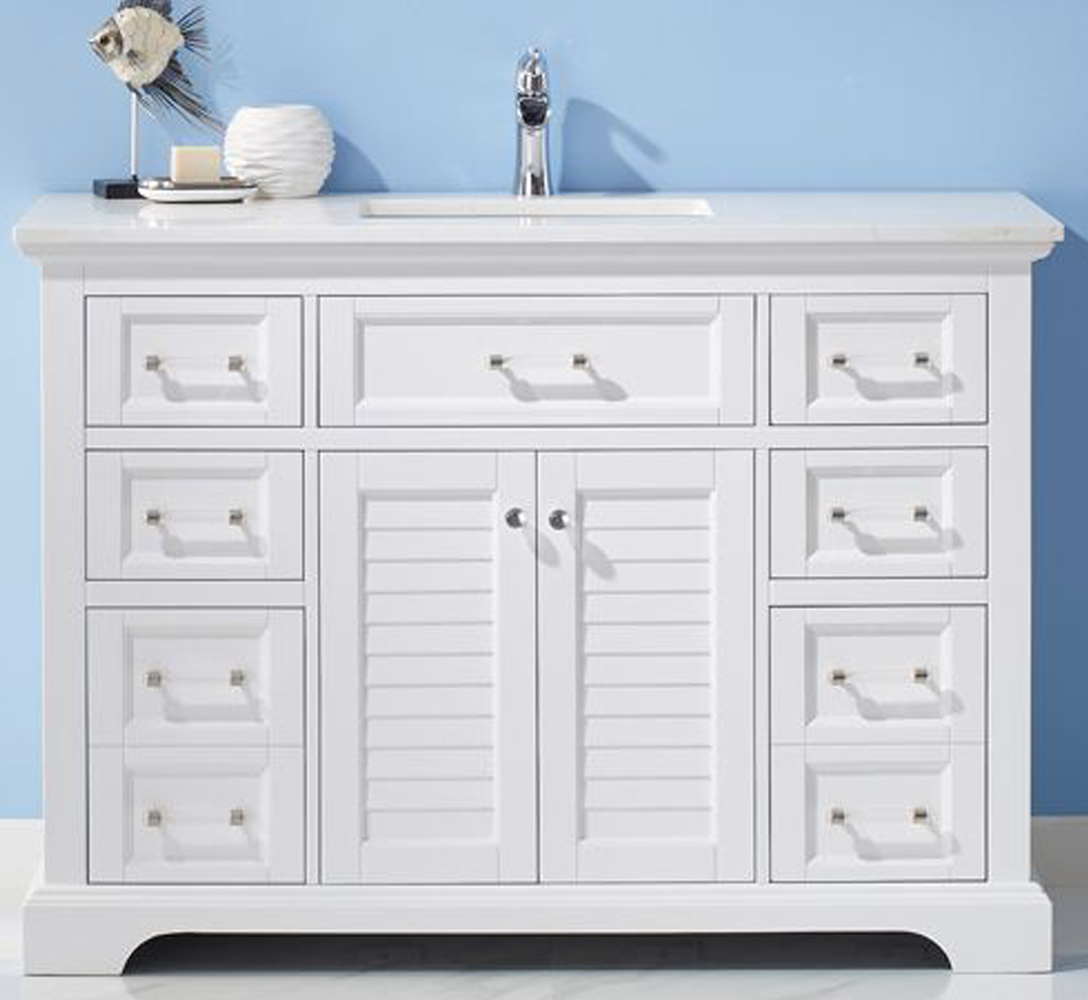 "48"" Single Vanity in White and Composite Carrara White Stone Countertop Without Mirror"