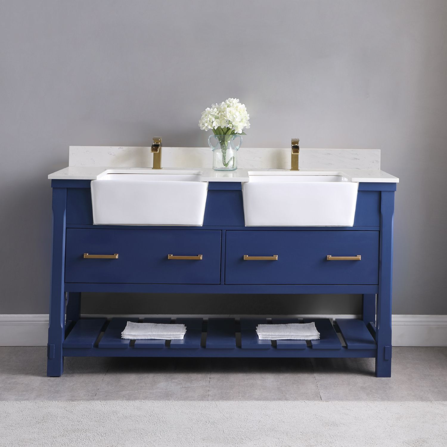 "Issac Edwards Collection 60"" Double Bathroom Vanity Set in Jewelry Blue and Composite Carrara White Stone Top with White Farmhouse Basin without Mirror"