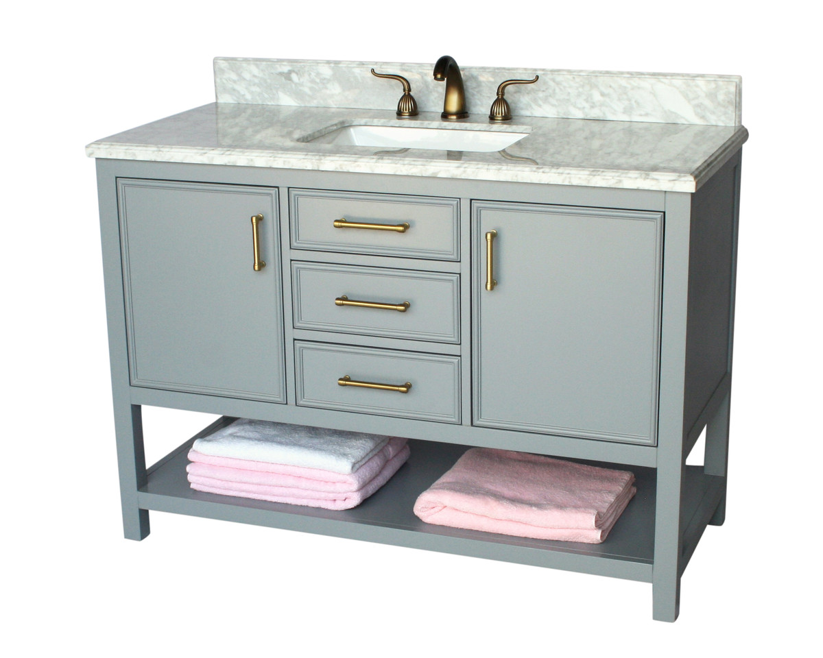 "49"" Adelina Contemporary Style Single Sink Bathroom Vanity, White Italian Carrara Marble Countertop with Color Options"