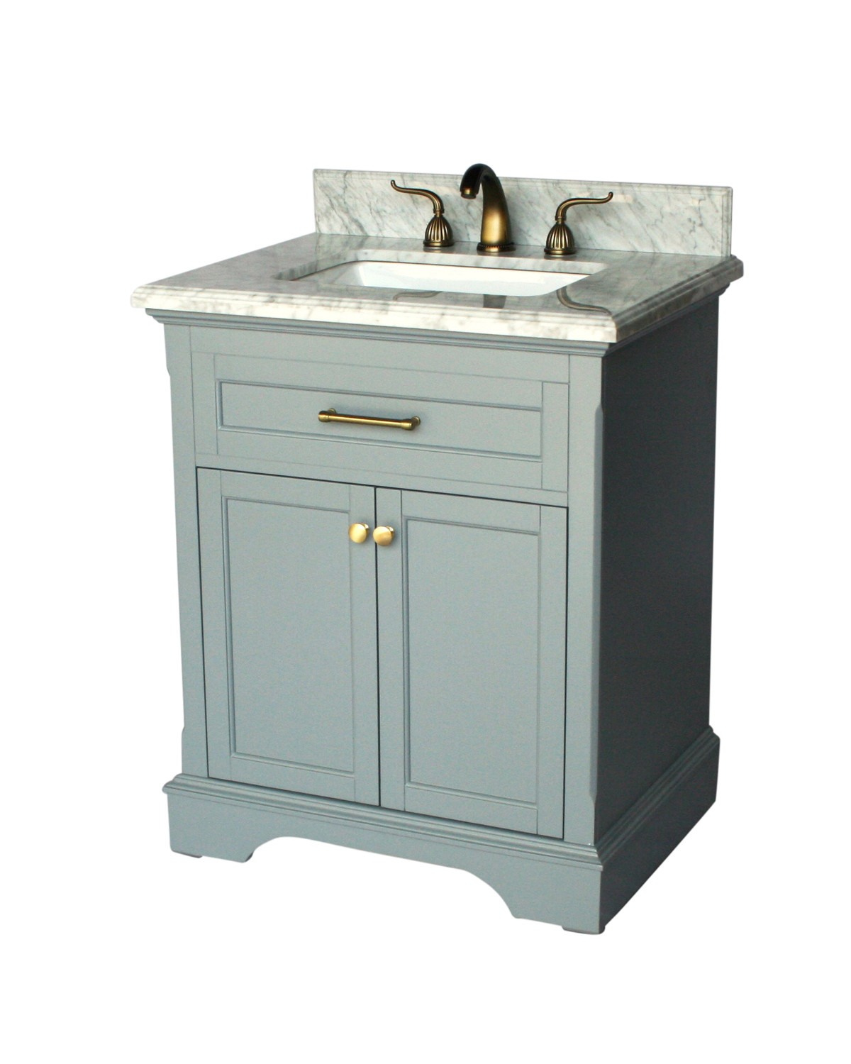 "28"" Adelina Contemporary Single Sink Bathroom Vanity Italian Carrara Marble Top in Grey Finish"