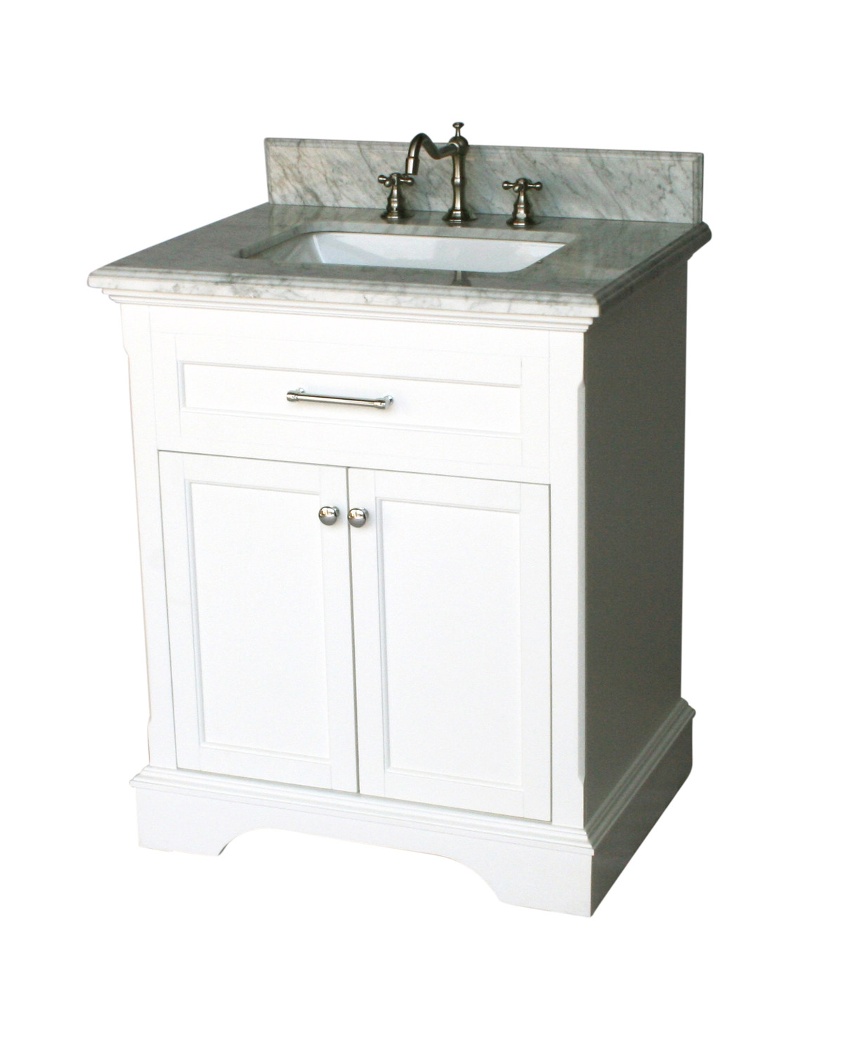 "28"" Adelina Contemporary Single Sink Bathroom Vanity Italian Carrara Marble Top in White Finish"