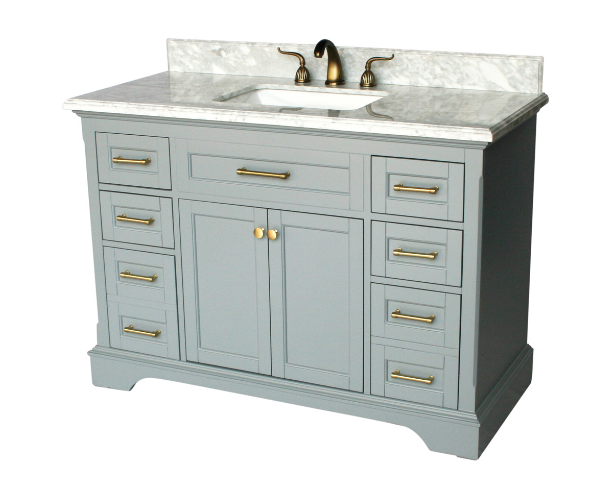 "49"" Adelina Contemporary Style Single Sink Bathroom Vanity in Gray Finish with White Italian Carrara Marble Countertop"
