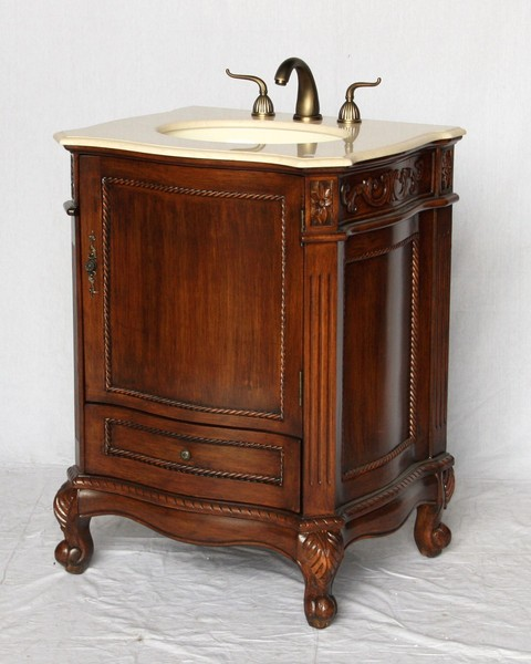 "26"" Adelina Antique Style Single Sink Bathroom Vanity in Walnut Finish with Beige Stone Countertop"