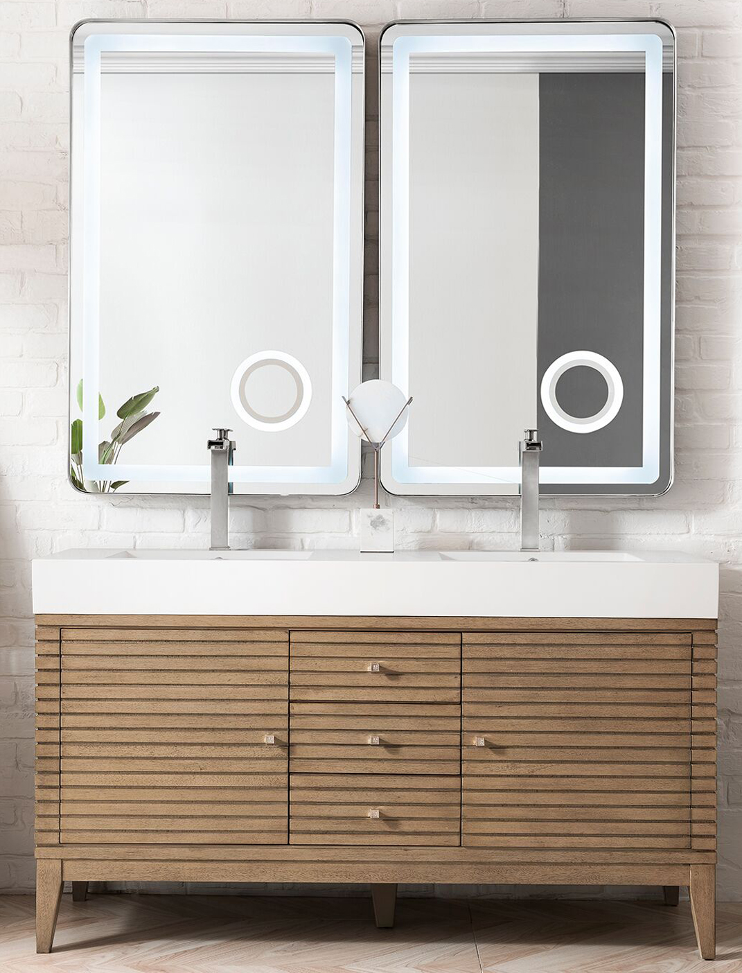 """James Martin Linear Collection 59"""" Double Vanity, White Washed Walnut Finish"""