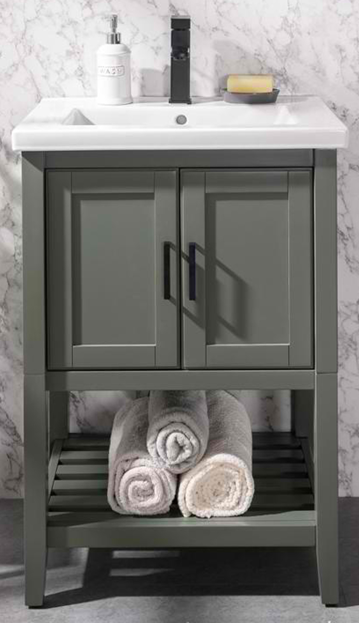 "24"" Pewter Green Single Sink Bathroom Vanity in Ceramic Top and White Ceramic Sink with Color Options"
