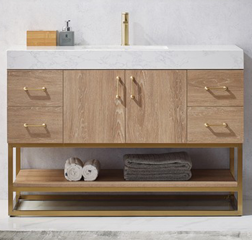 "48"" Single Vanity in North American Oak with White Grain Stone Countertop, No Mirror"