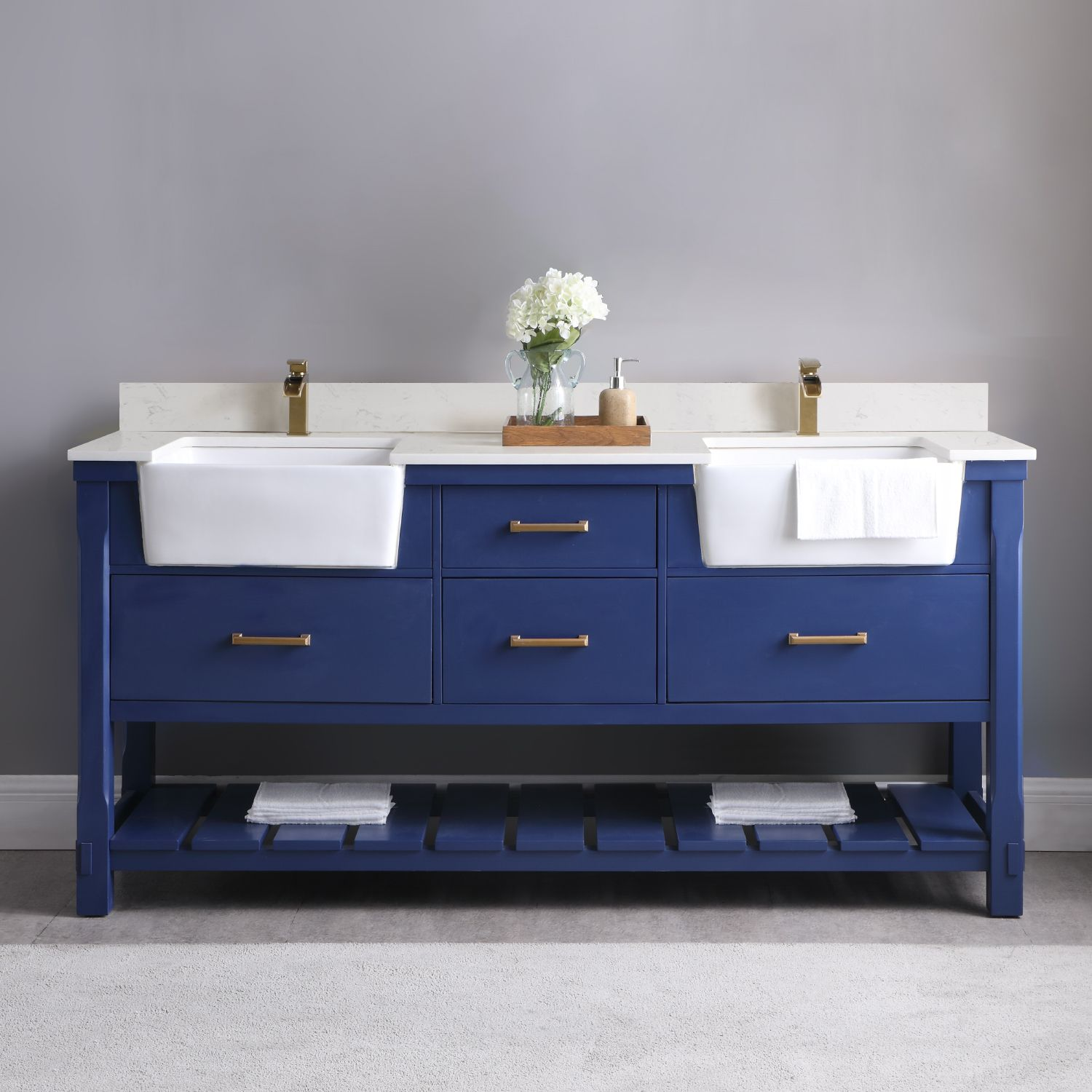 "Issac Edwards Collection 72"" Double Bathroom Vanity Set in Jewelry Blue and Composite Carrara White Stone Top with White Farmhouse Basin without Mirror"