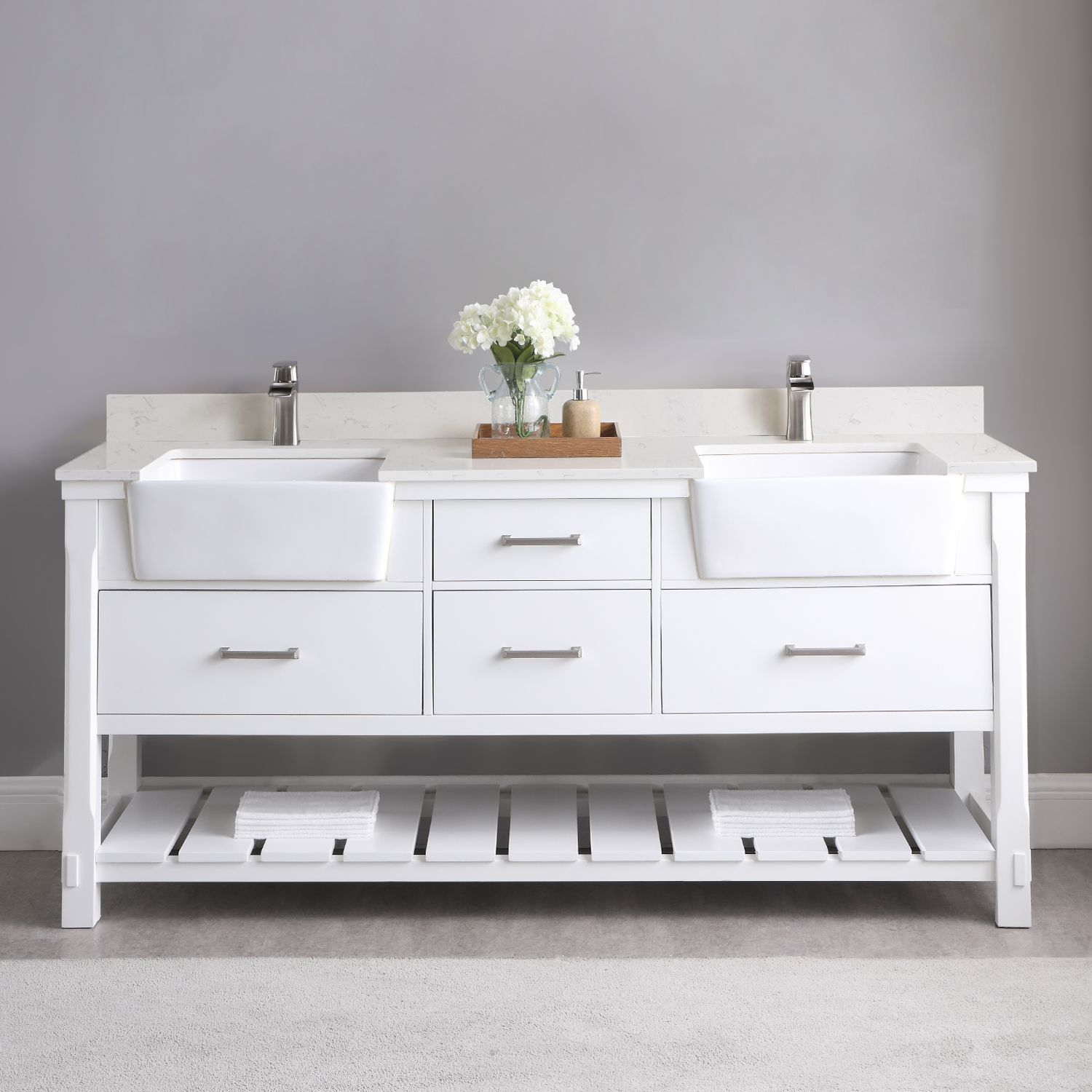 "Issac Edwards Collection 72"" Double Bathroom Vanity Set in White and Composite Carrara White Stone Top with White Farmhouse Basin without Mirror"
