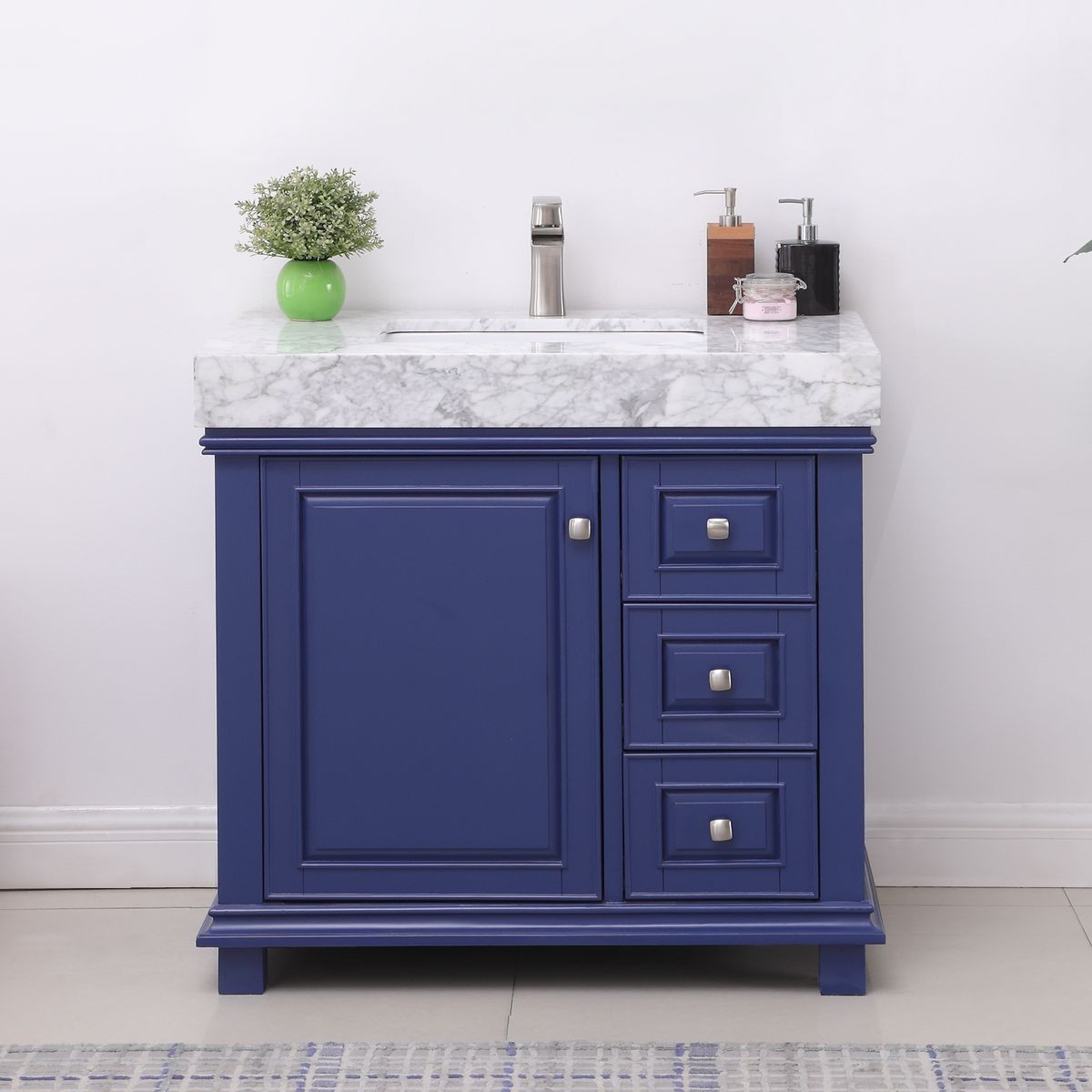"Issac Edwards Collection 36"" Single Bathroom Vanity Set in Jewelry Blue and Carrara White Marble Countertop without Mirror"