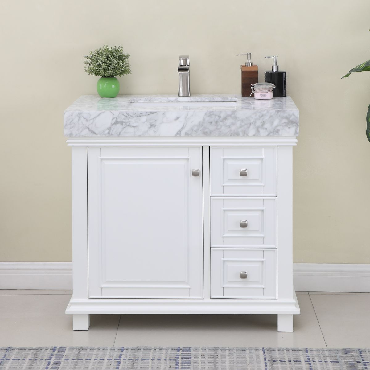 "Issac Edwards Collection 36"" Single Bathroom Vanity Set in White and Carrara White Marble Countertop without Mirror"