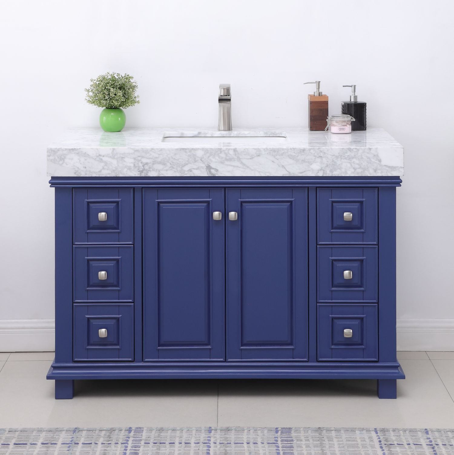 "Issac Edwards Collection 48"" Single Bathroom Vanity Set in Jewelry Blue and Carrara White Marble Countertop without Mirror"