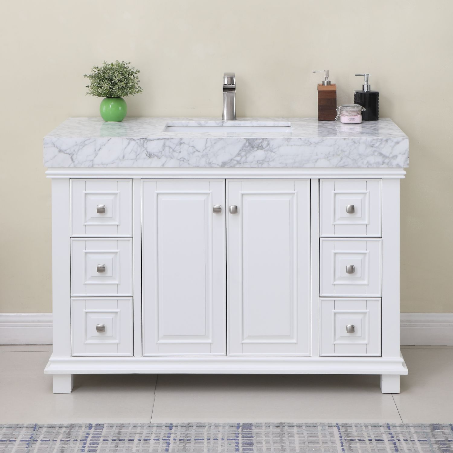 "Issac Edwards Collection 48"" Single Bathroom Vanity Set in White and Carrara White Marble Countertop without Mirror"
