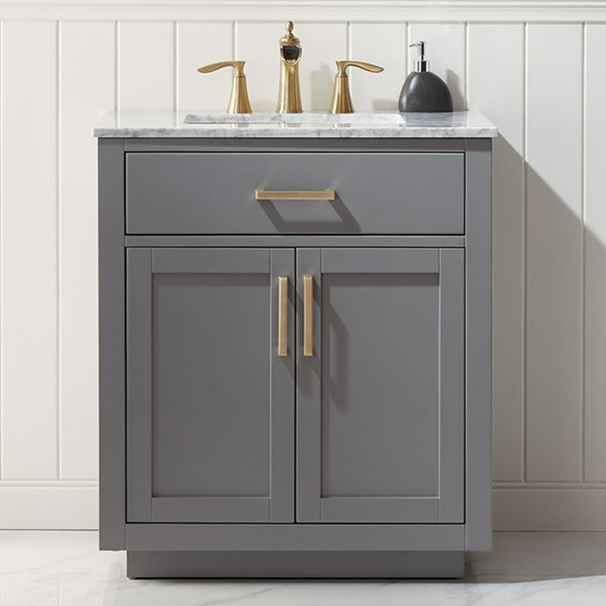 "Issac Edwards Collection 30"" Single Bathroom Vanity Set in Gray and Carrara White Marble Countertop without Mirror"