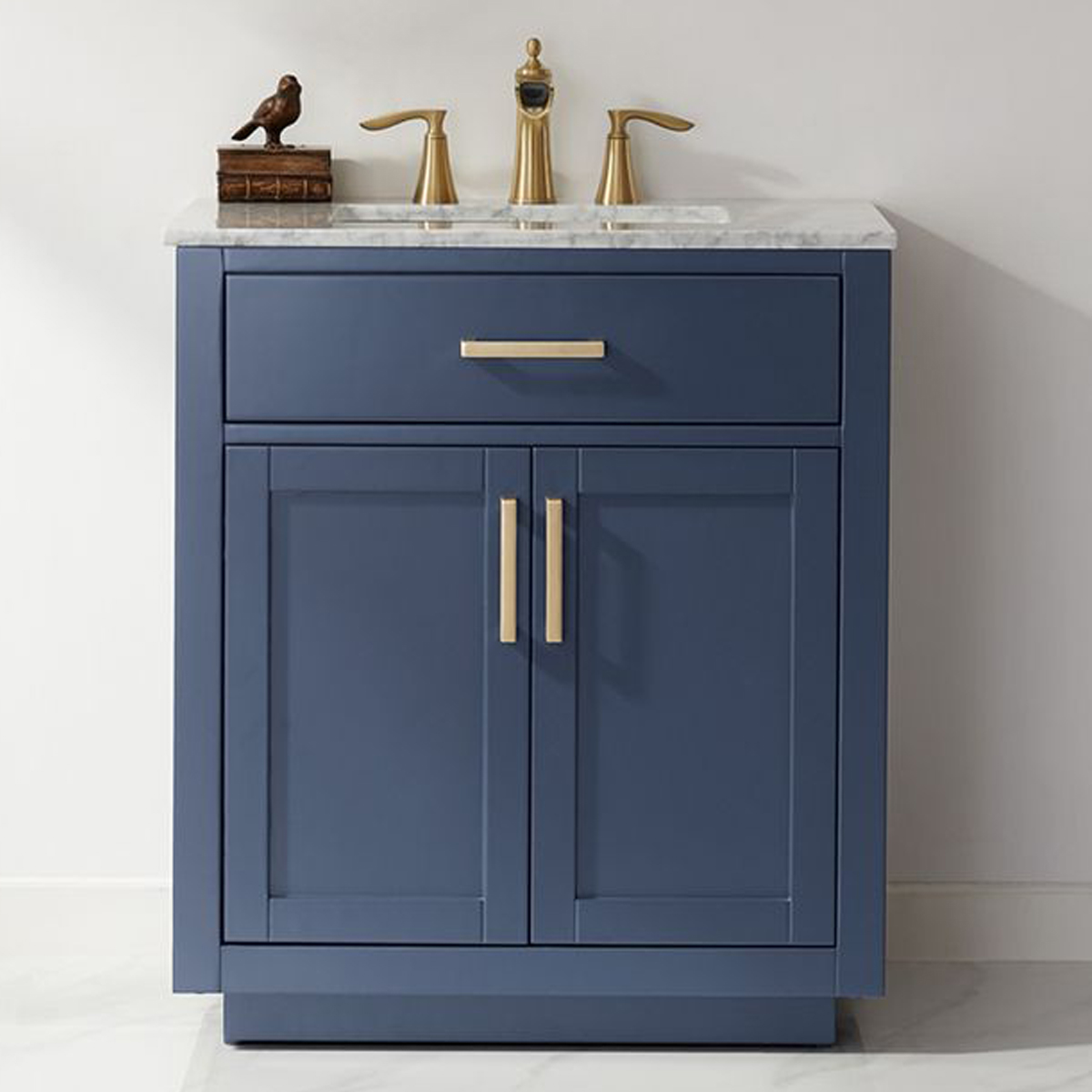 "Issac Edwards Collection 30"" Single Bathroom Vanity Set in Royal Blue and Carrara White Marble Countertop without Mirror"