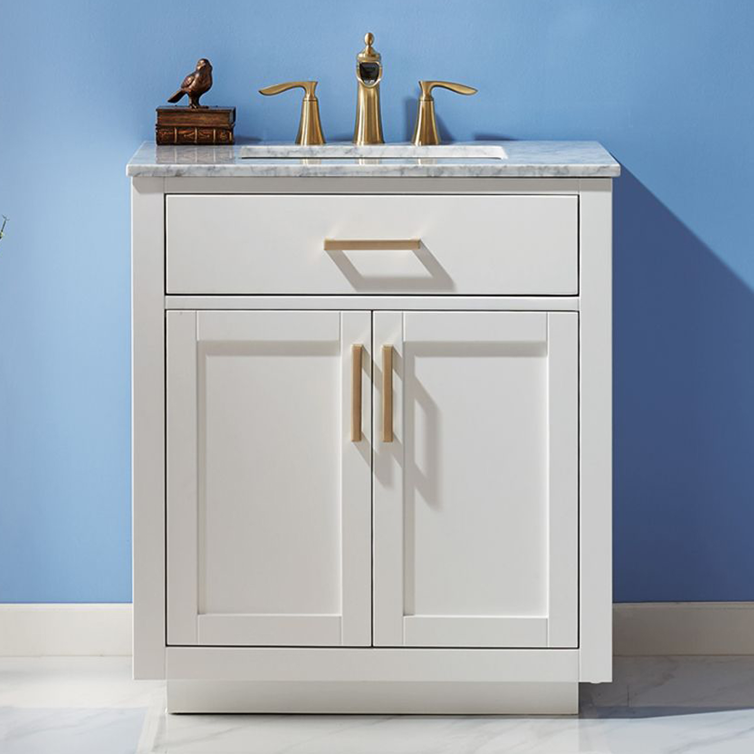 "Issac Edwards Collection 30"" Single Bathroom Vanity Set in White and Carrara White Marble Countertop without Mirror"