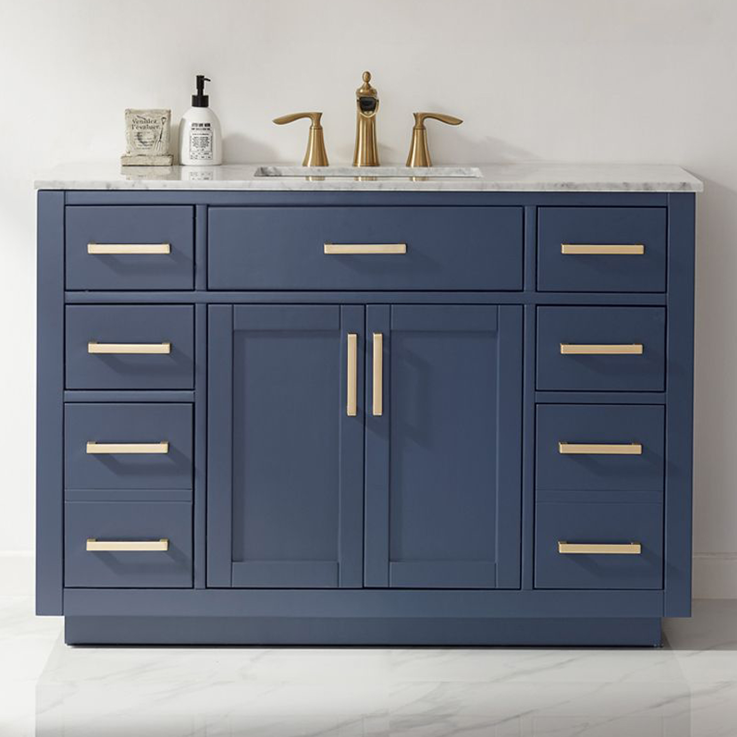 "Issac Edwards Collection 48"" Single Bathroom Vanity Set in Royal Blue and Carrara White Marble Countertop"